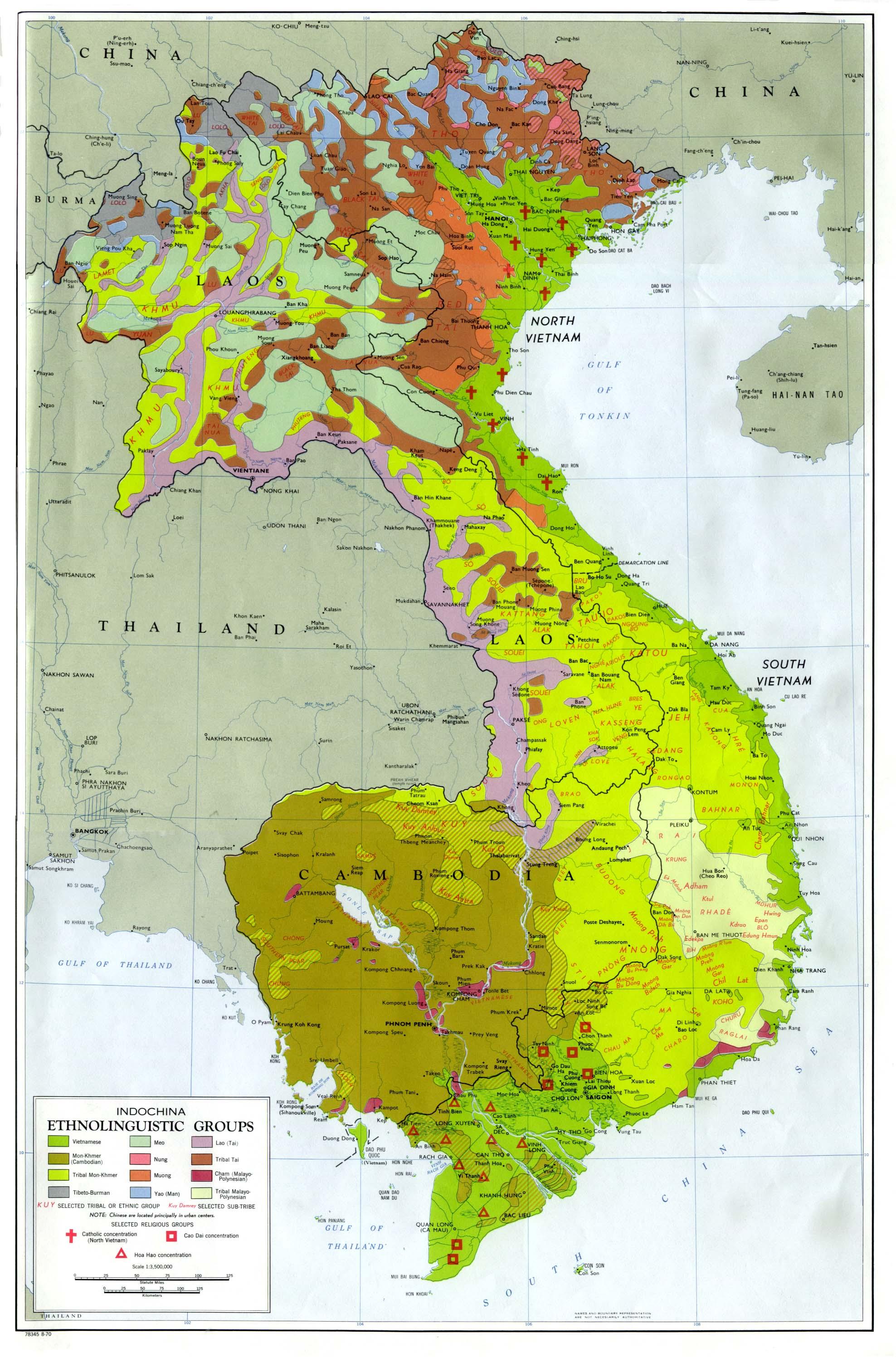 Map of Indochina Ethnolinguistic Groups