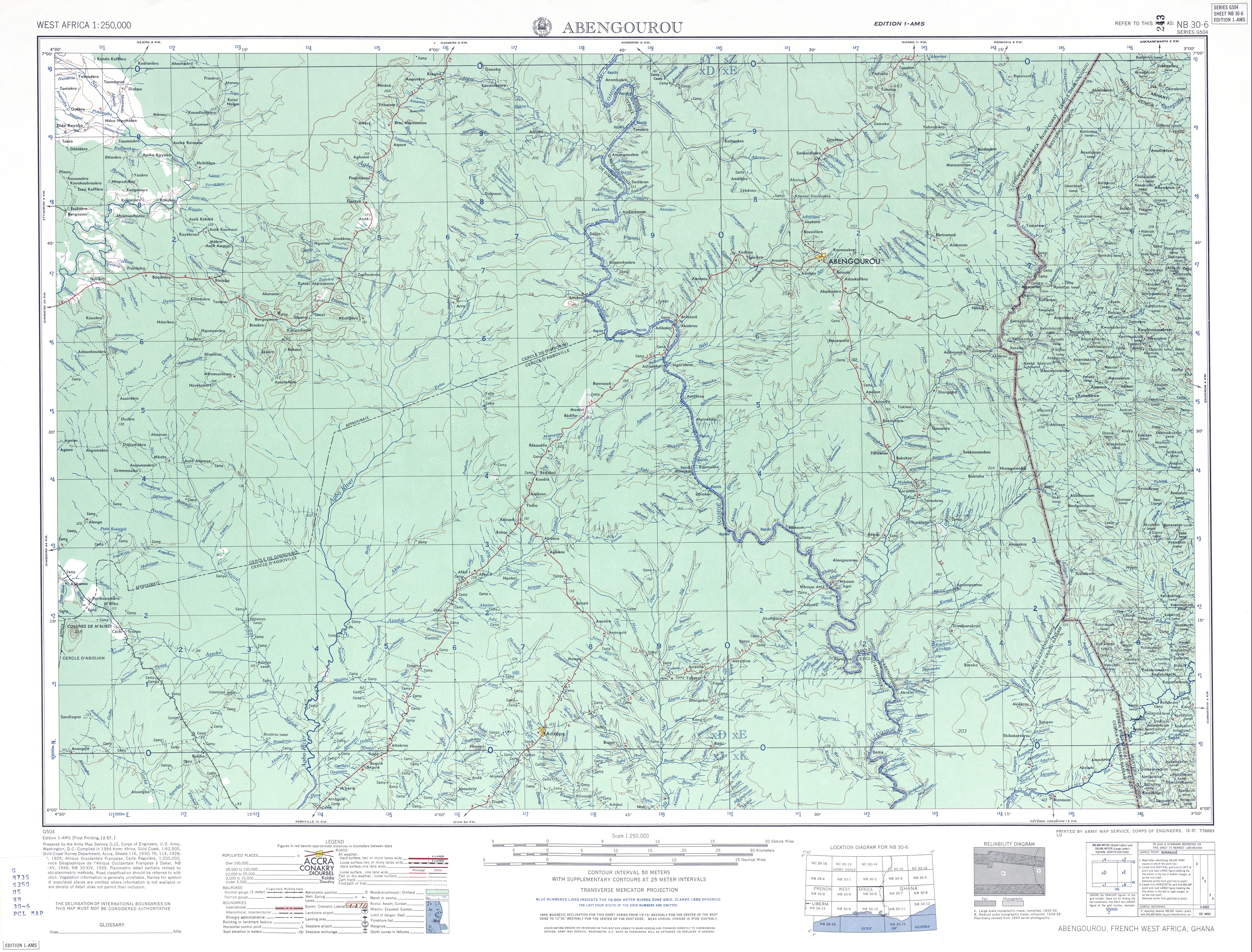 Abengourou Topographic Map Sheet, Western Africa 1955