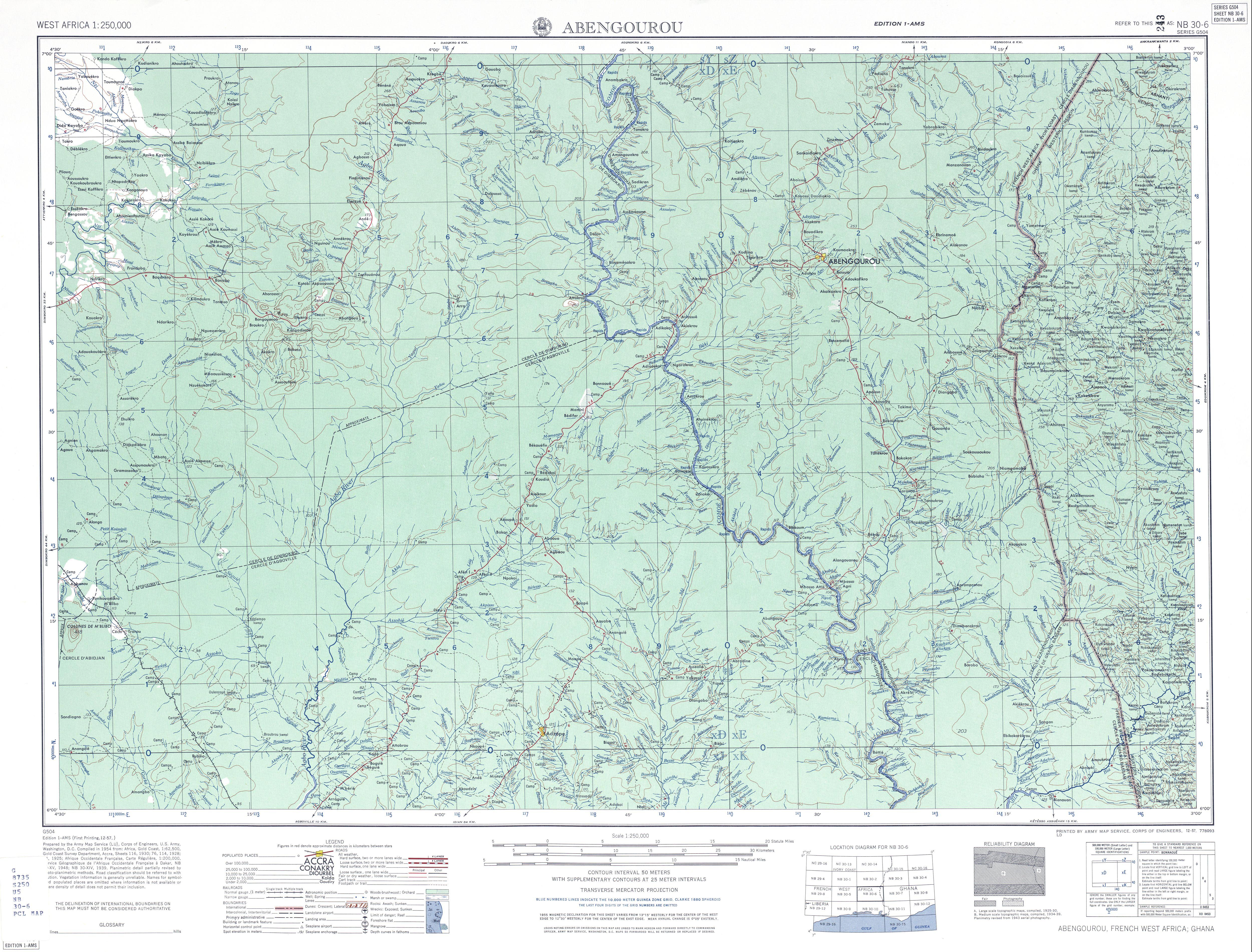 Hoja Abengourou del Mapa Topográfico de África Occidental 1955