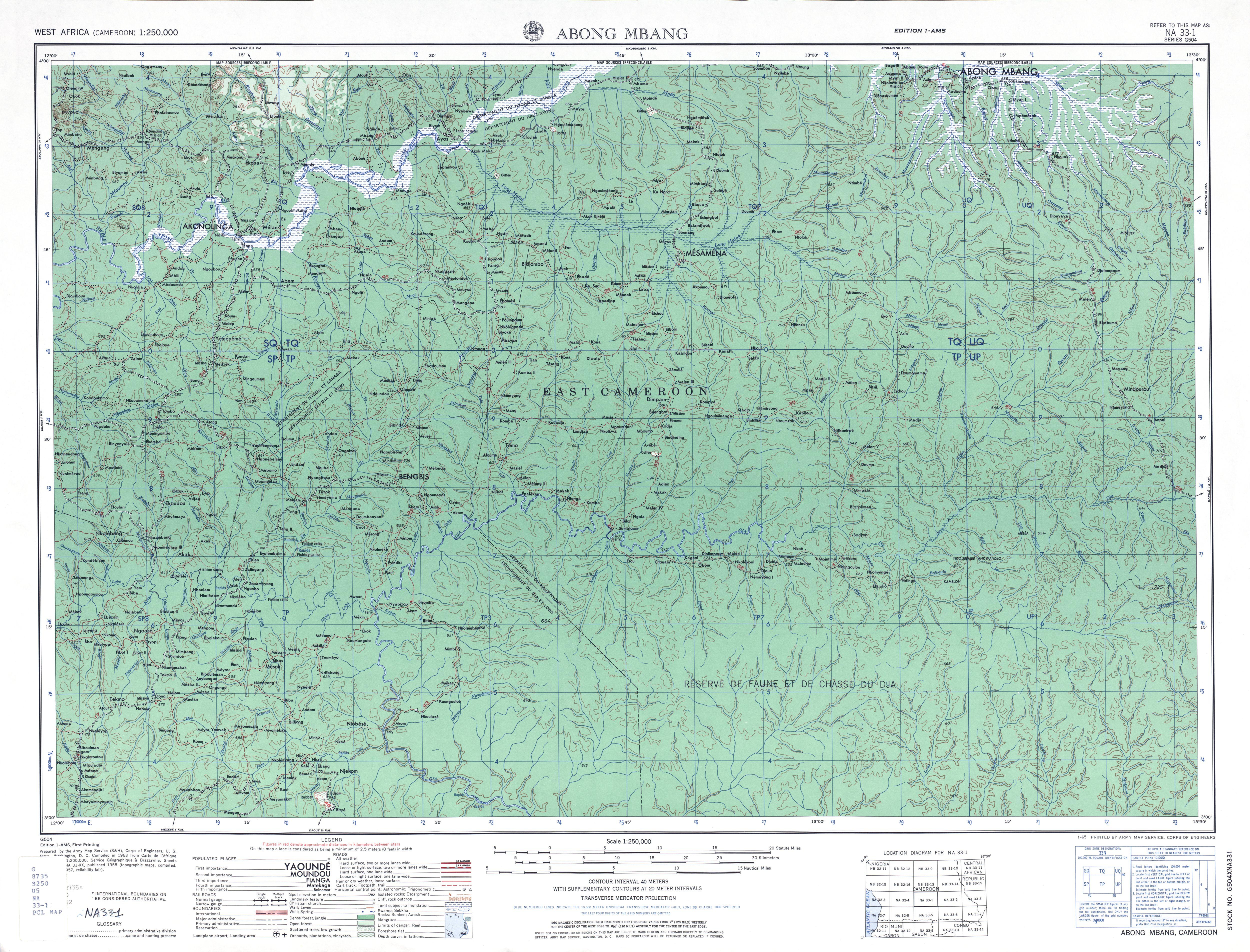 Hoja Abong Mbang del Mapa Topográfico de África Occidental 1955