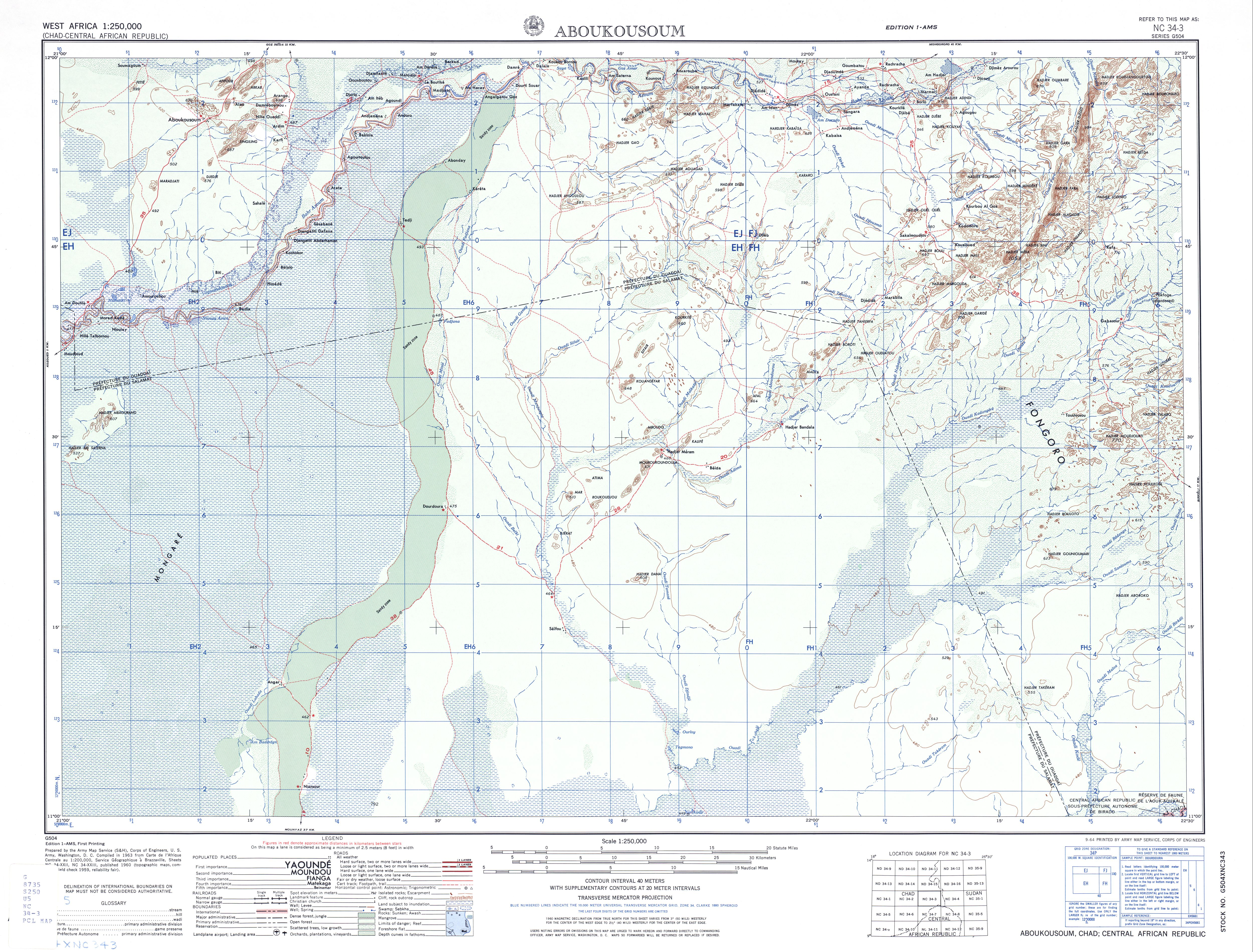 Aboukousoum Topographic Map Sheet, Western Africa 1955