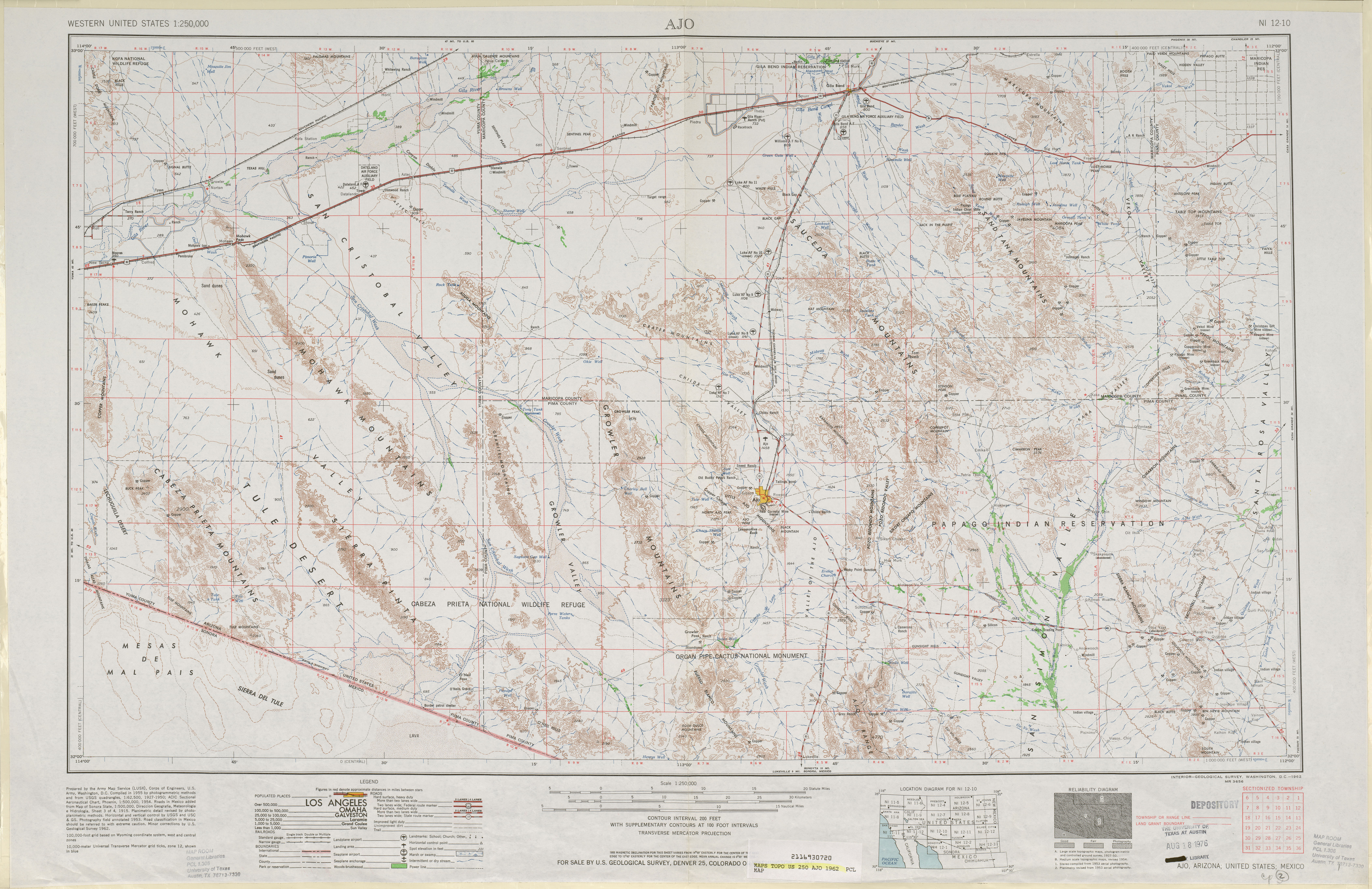 Ajo Topographic Map Sheet, United States 1962