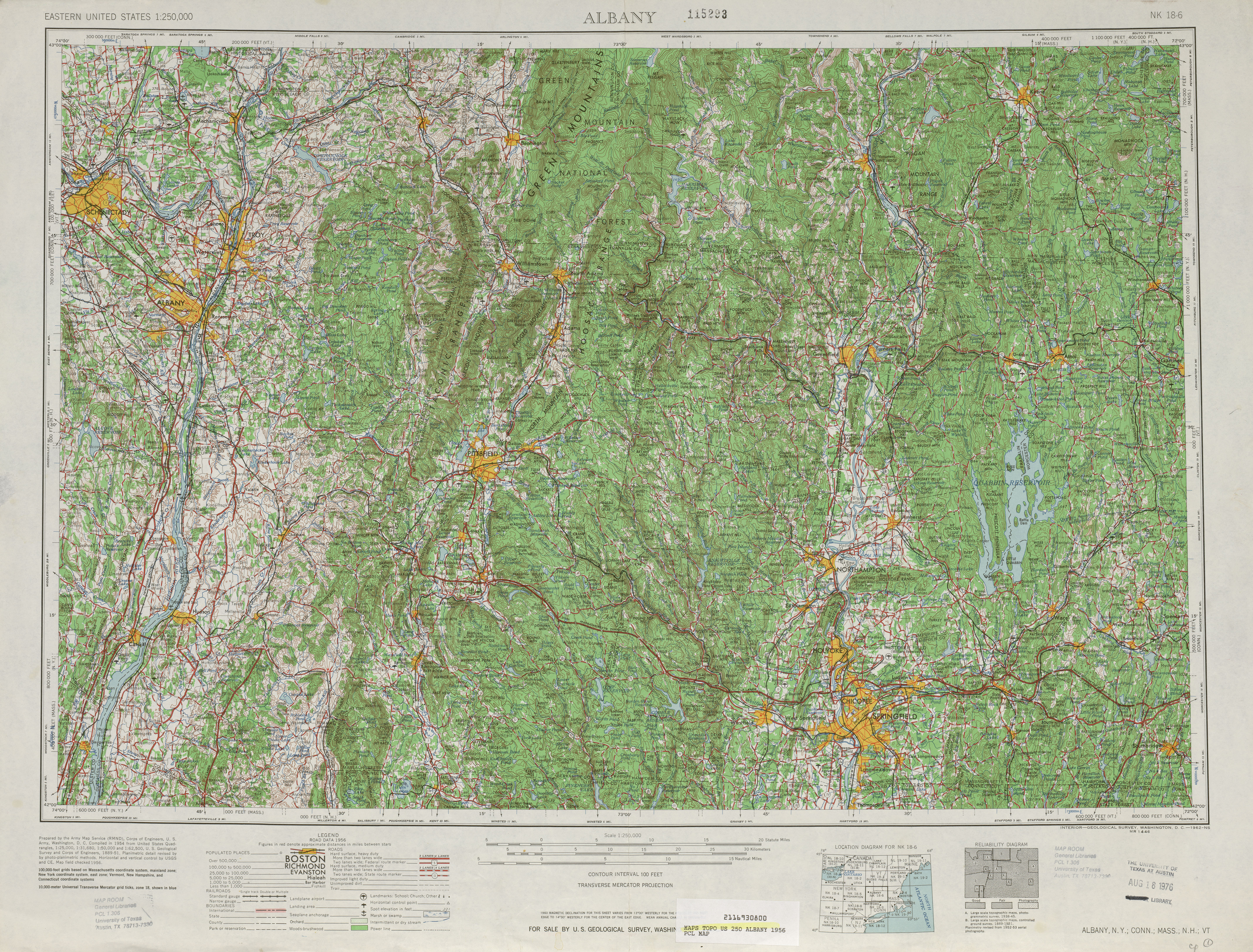 Albany Topographic Map Sheet, United States 1956