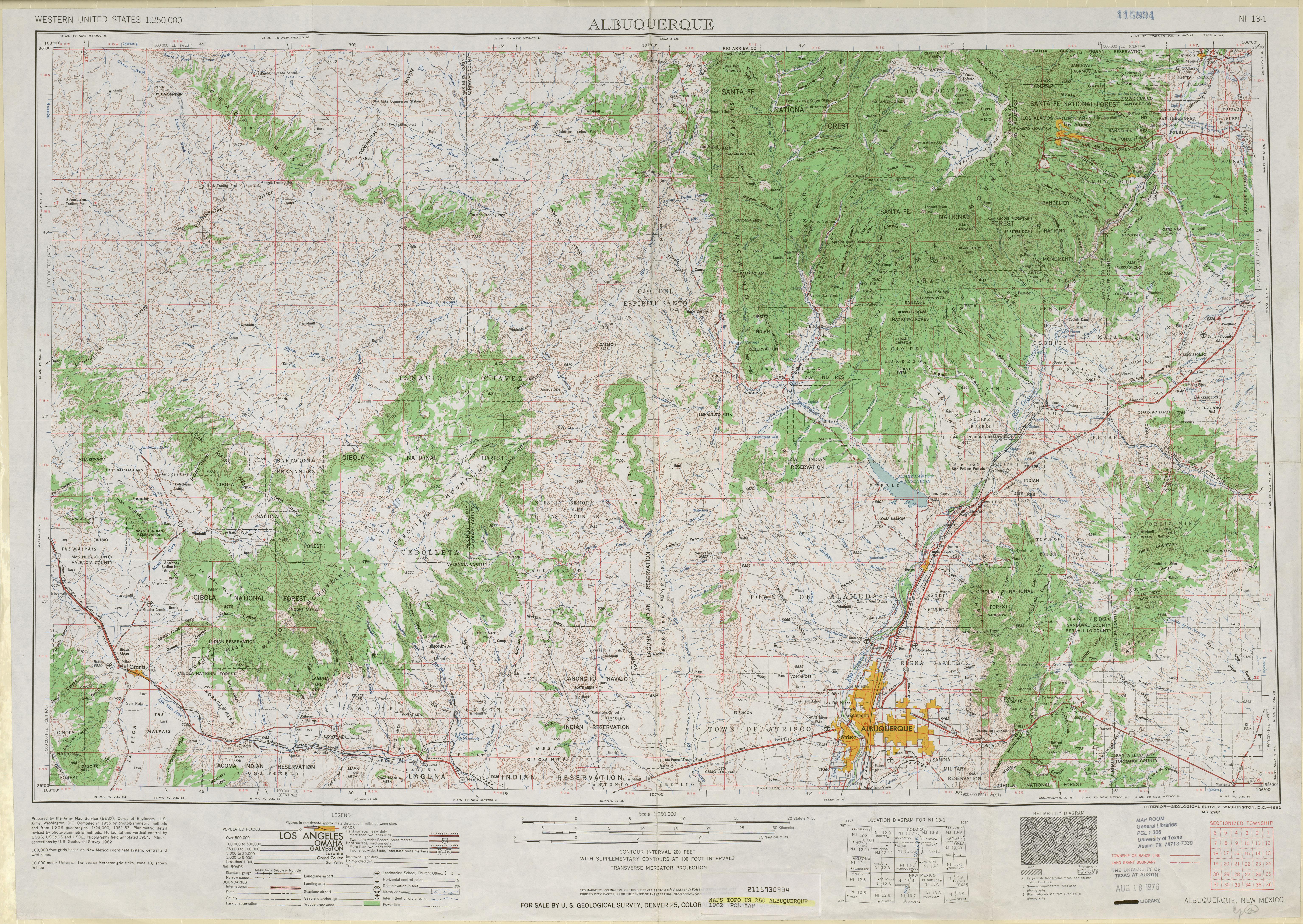 Hoja Albuquerque del Mapa Topográfico de los Estados Unidos 1962
