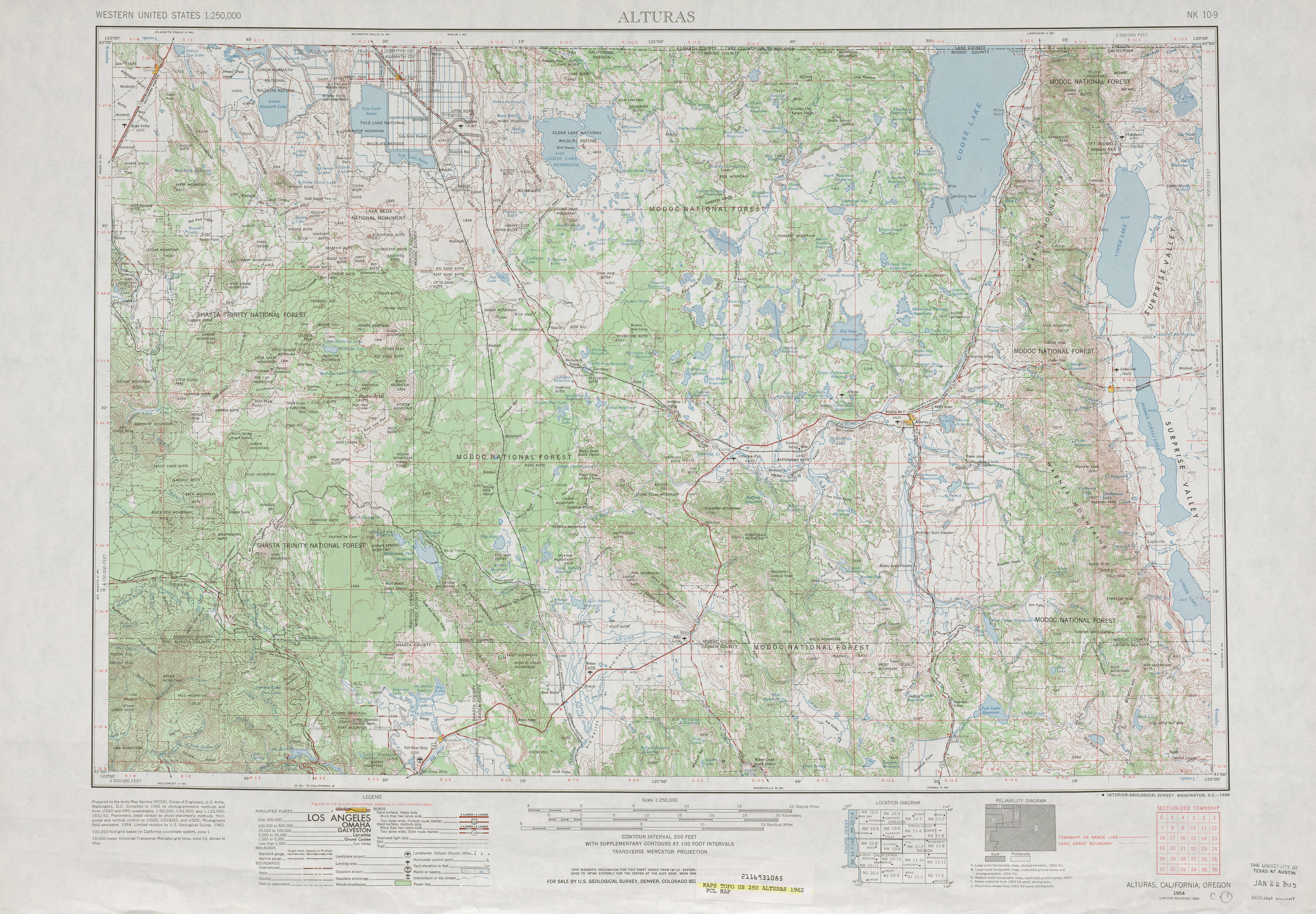 Alturas Topographic Map Sheet, United States 1962