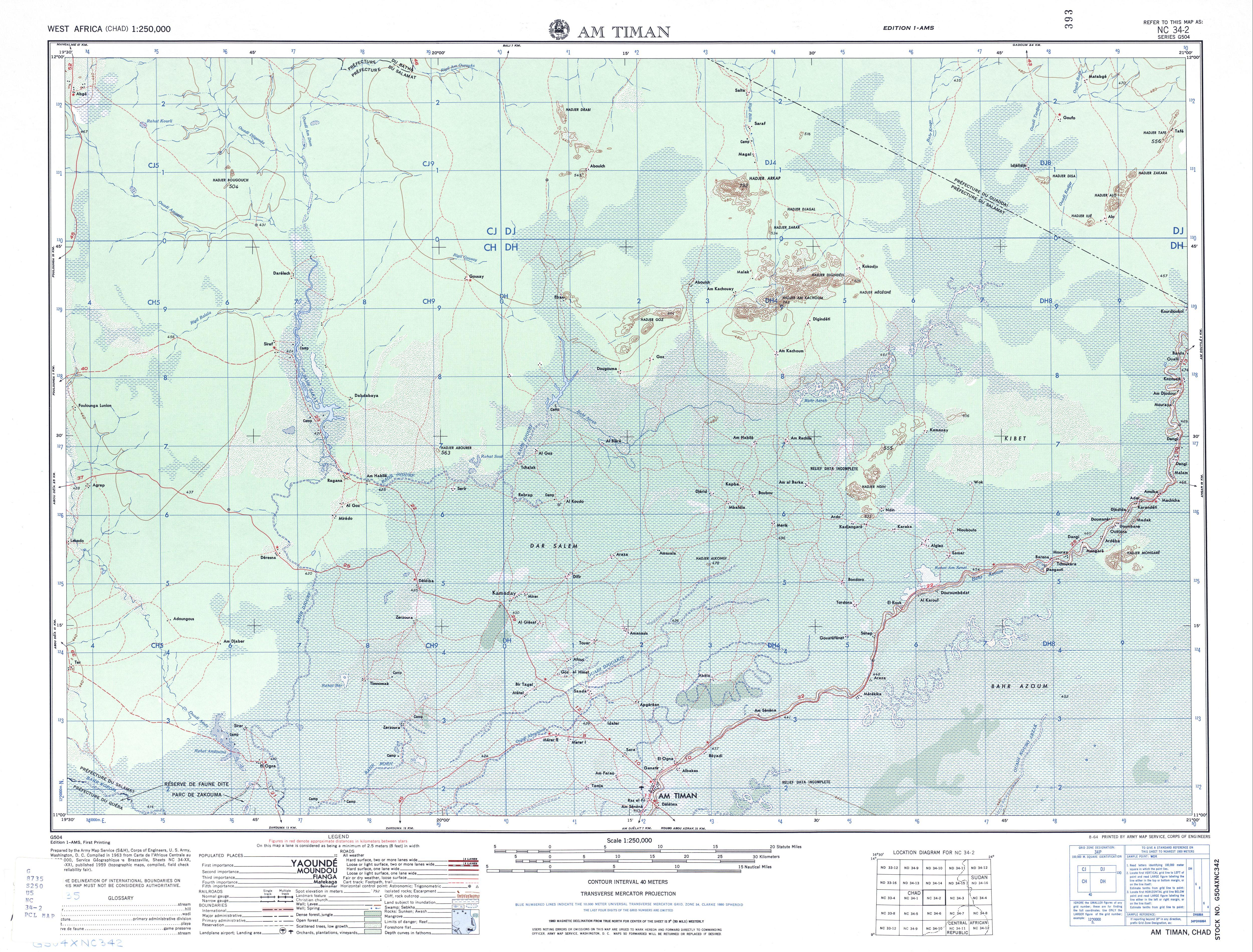 Hoja Am Timan del Mapa Topográfico de África Occidental 1955