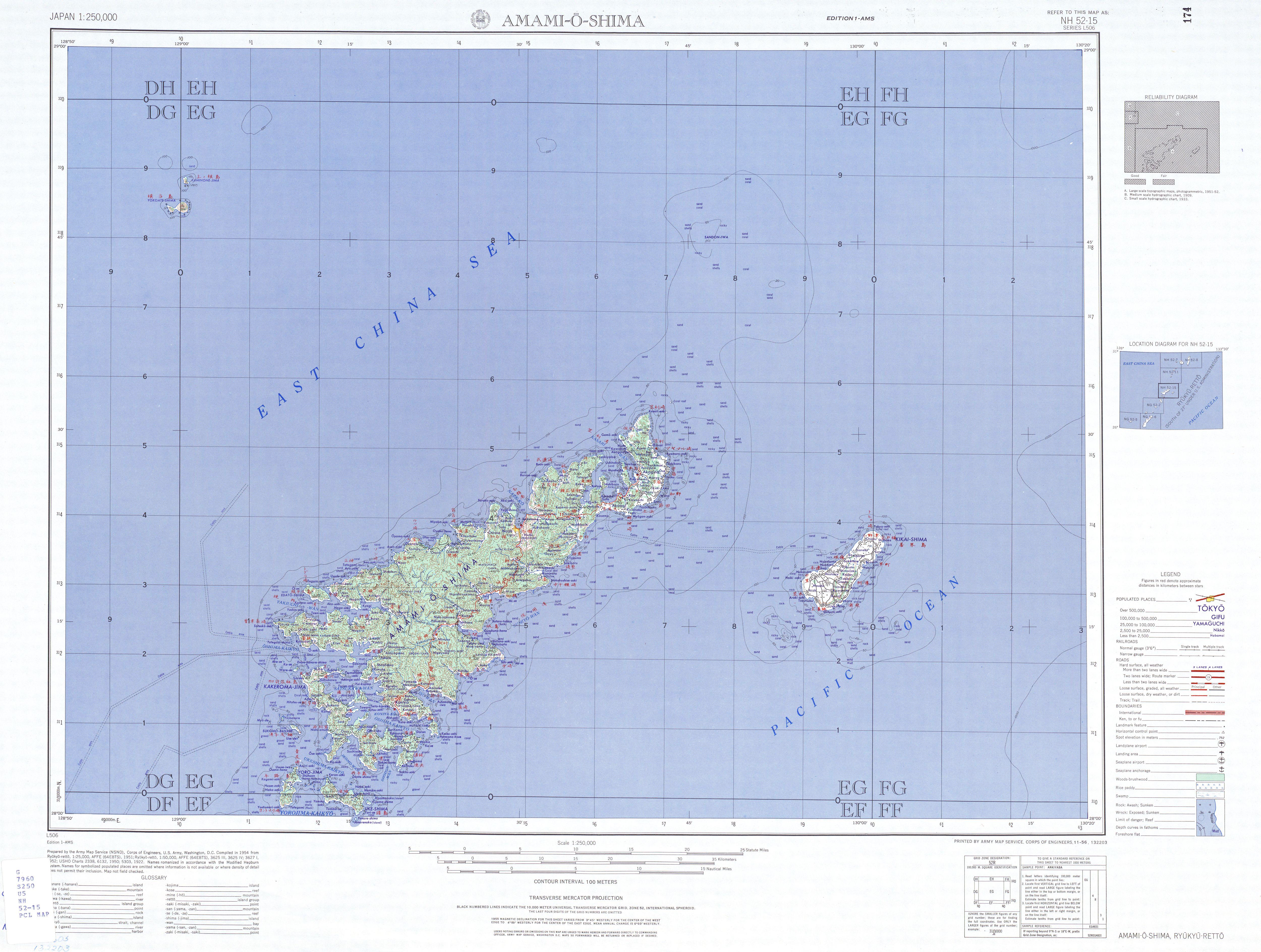 Hoja Amami-O-Shima del Mapa Topográfico de Japón 1954