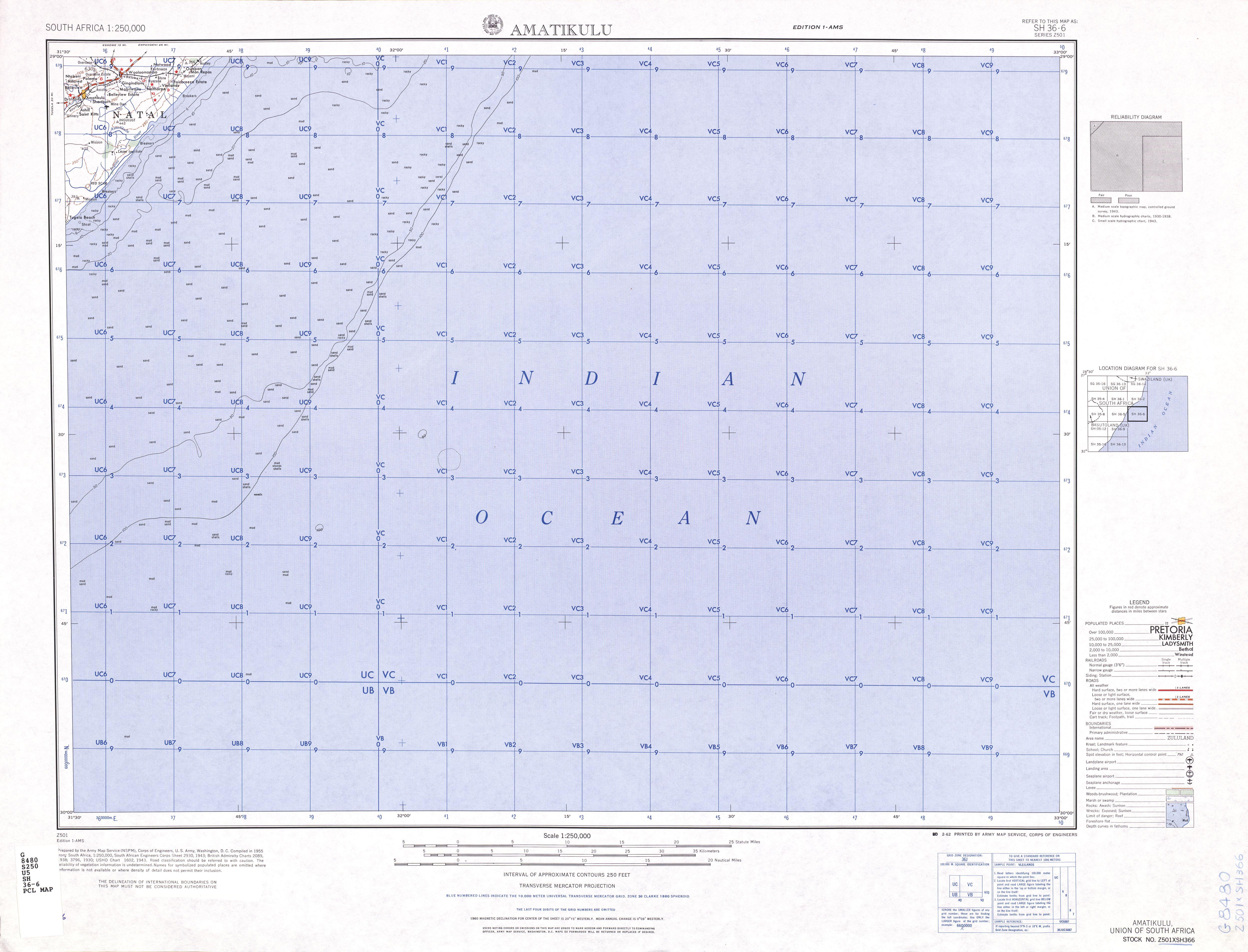 Amatikulu Topographic Map Sheet, Southern Africa 1954