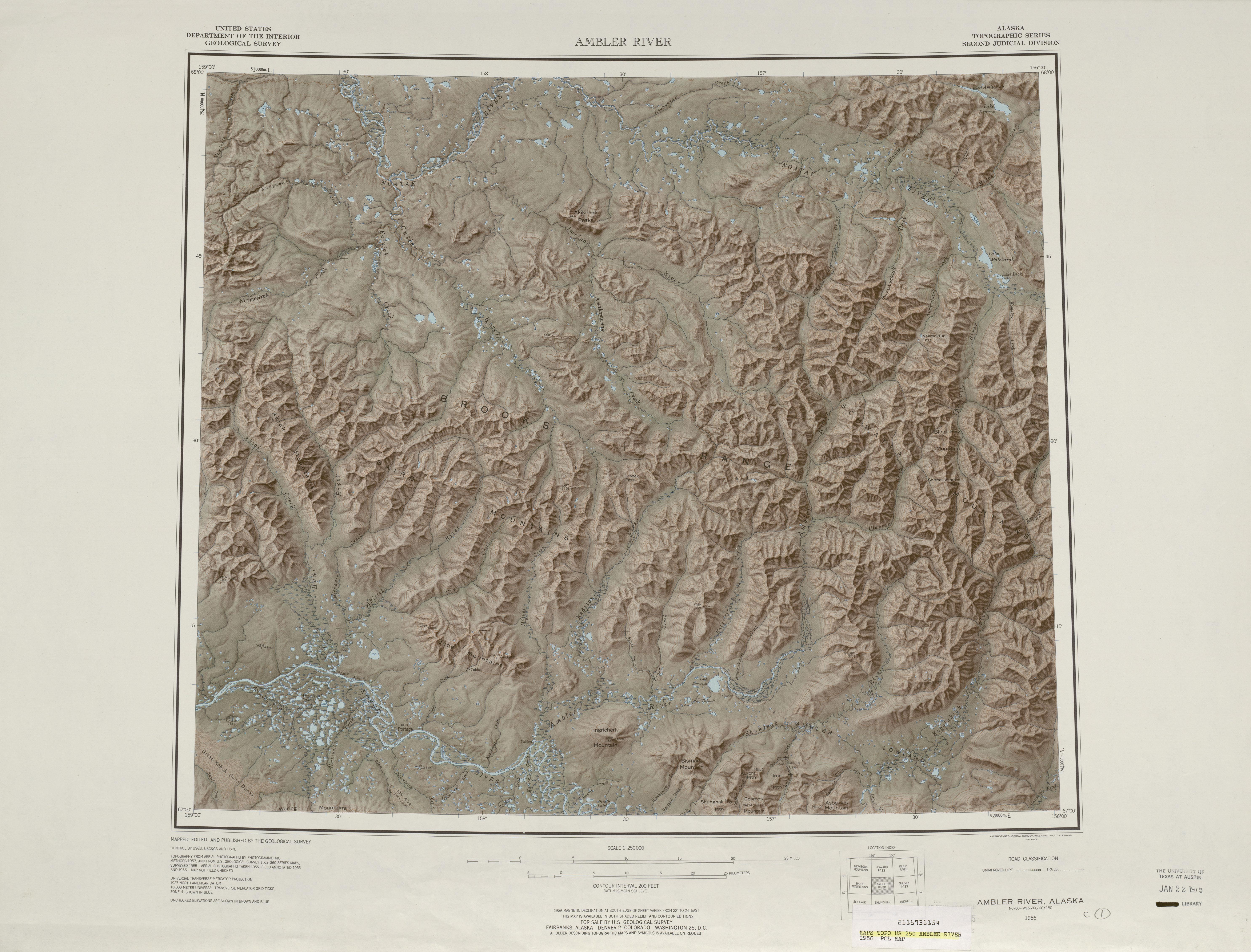 Hoja Ambler River del Mapa Topográfico de los Estados Unidos 1956