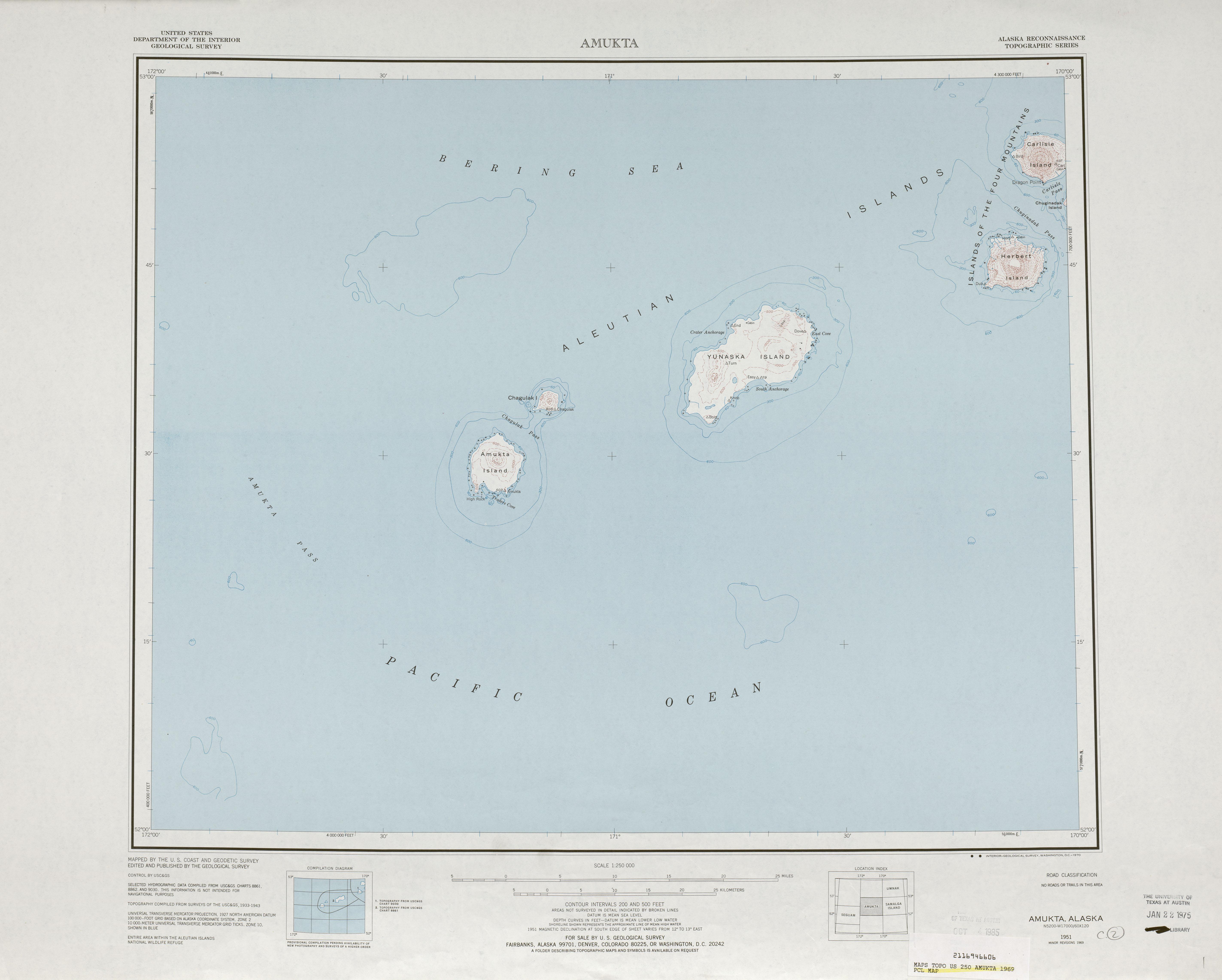 Amukta Topographic Map Sheet, United States 1969