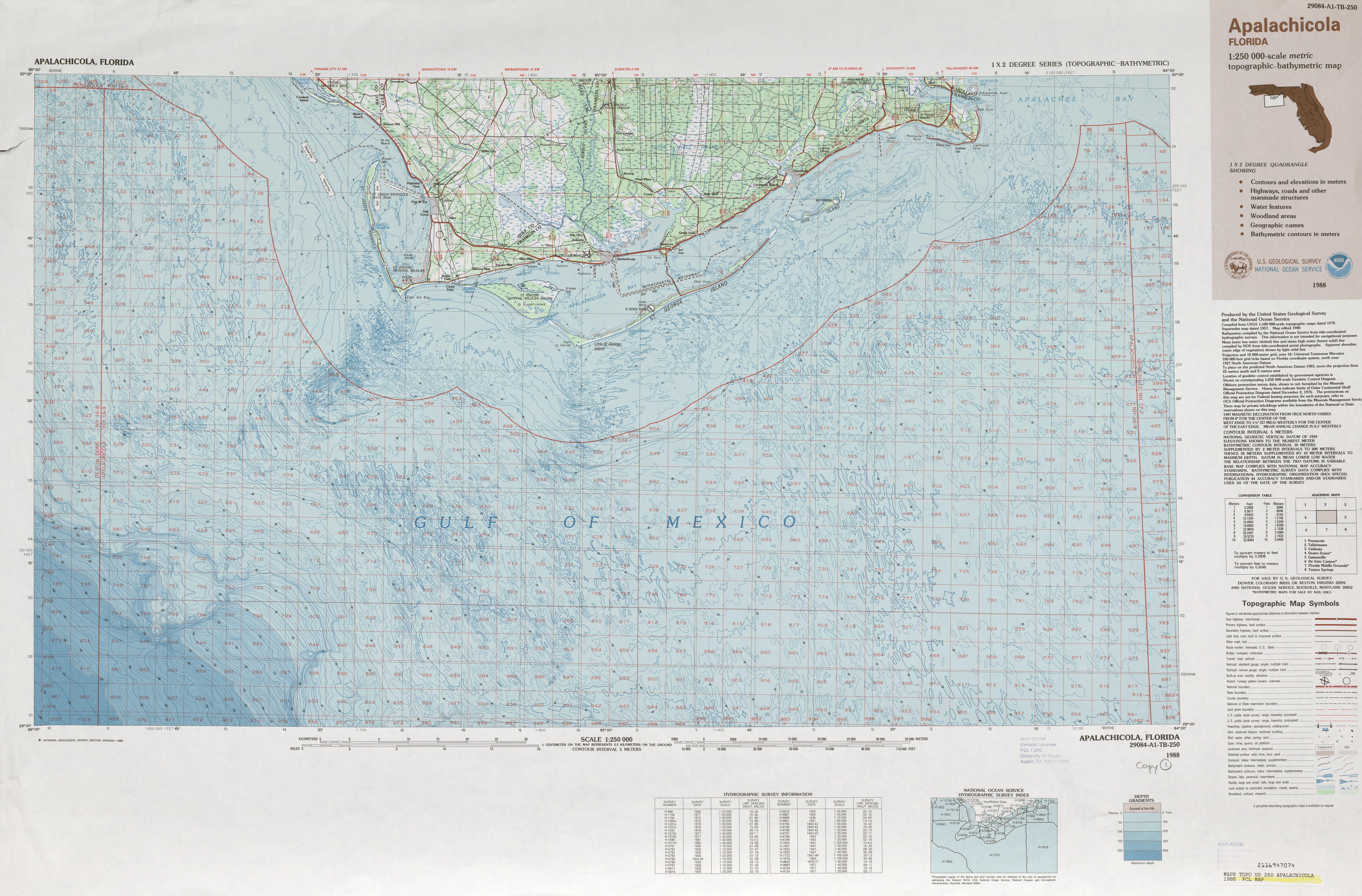 Hoja Apalachicola Mapa Topográfico de-Batimétrico, Estados Unidos 1988
