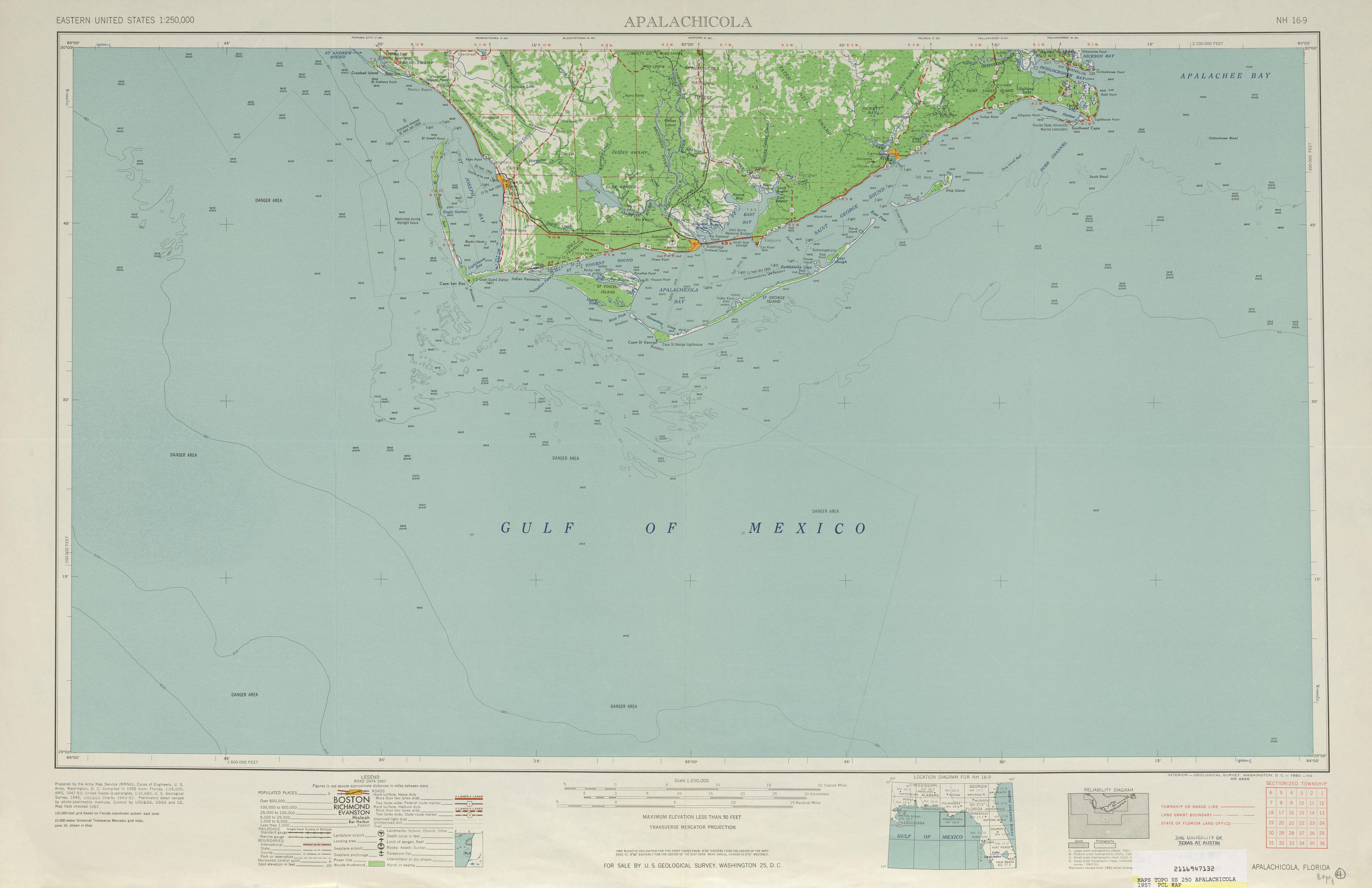 Hoja Apalachicola del Mapa Topográfico de los Estados Unidos 1957