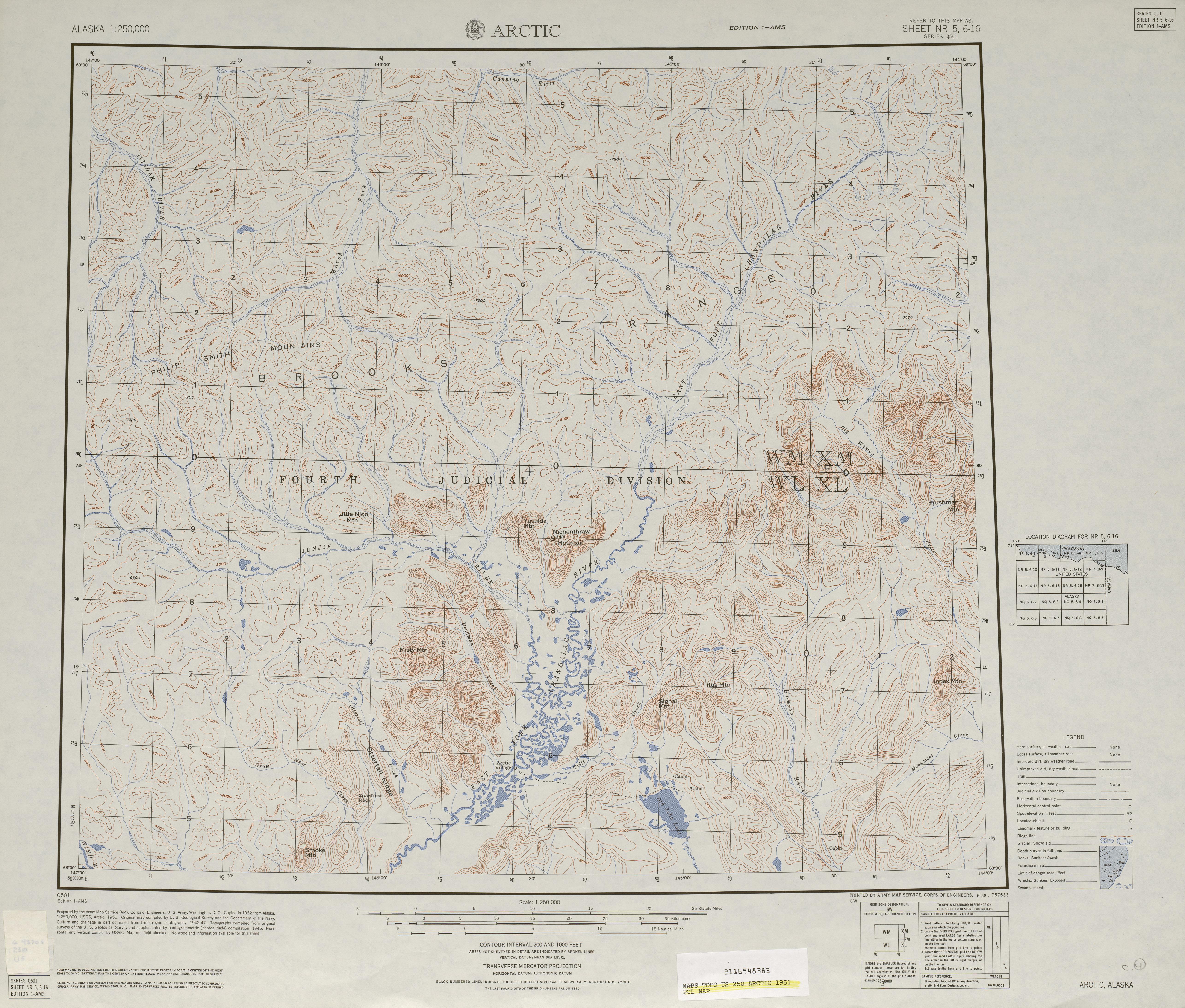 Hoja Arctic del Mapa Topográfico de los Estados Unidos 1951
