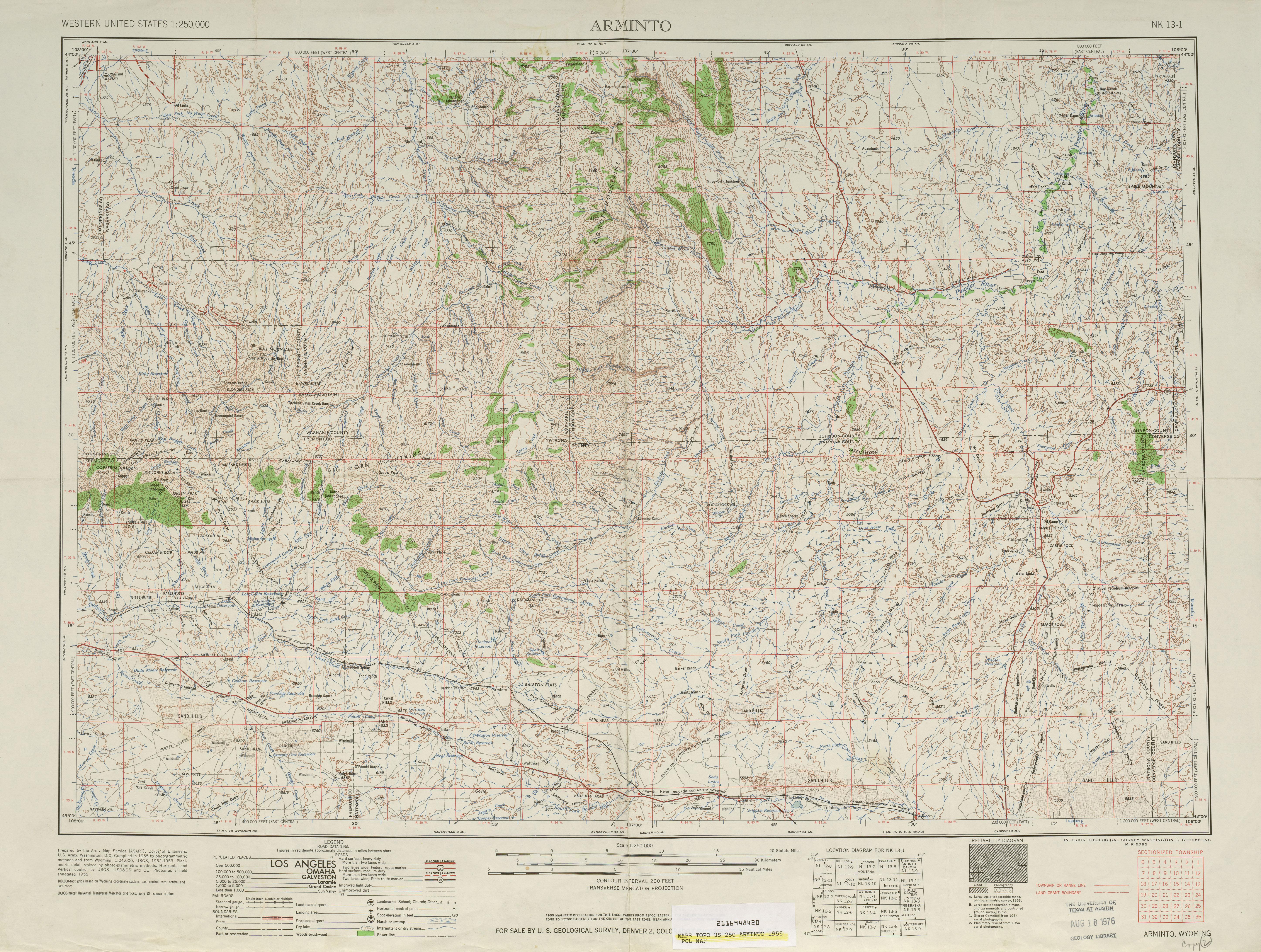 Hoja Arminto del Mapa Topográfico de los Estados Unidos 1955