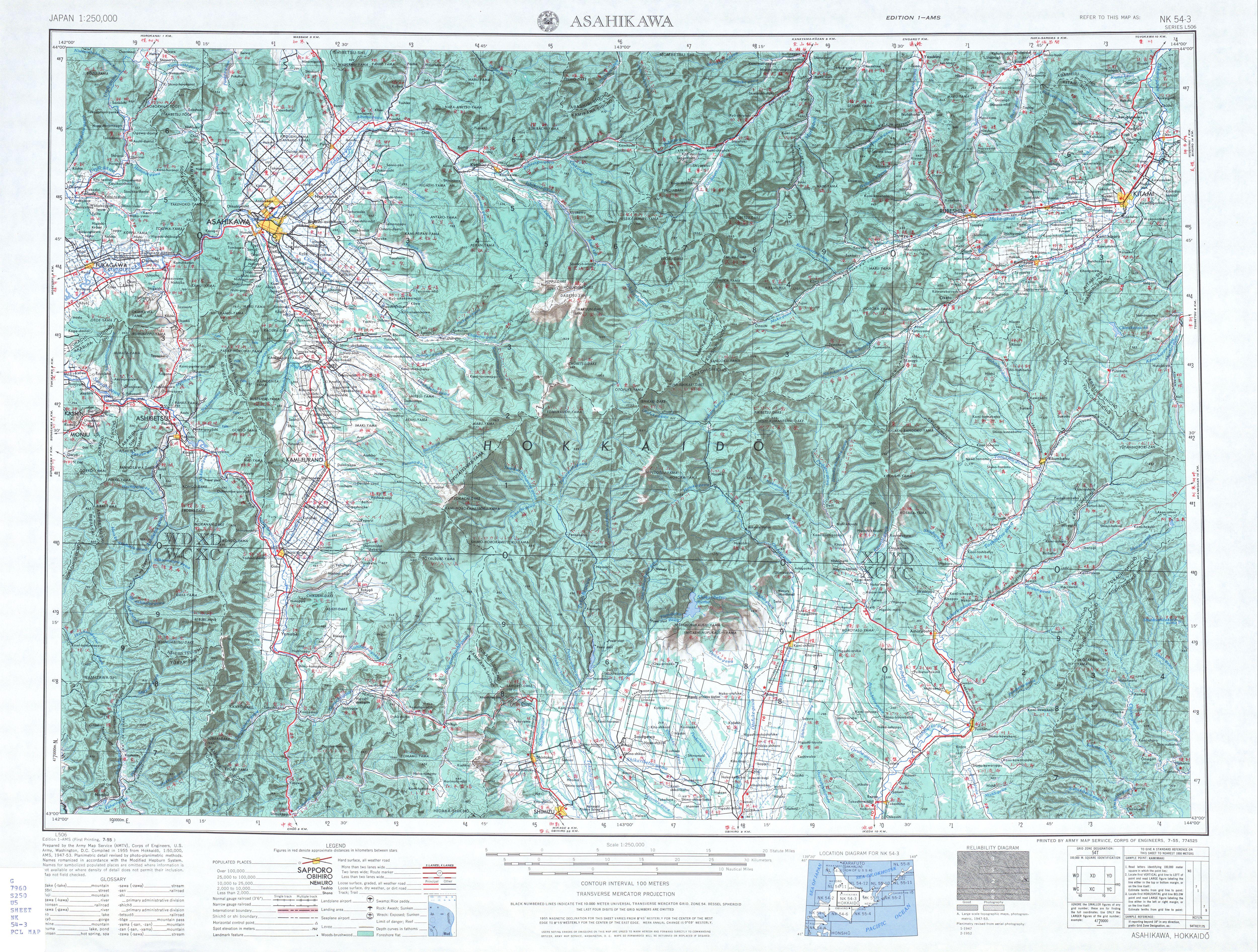 Hoja Asahikawa del Mapa Topográfico de Japón 1954