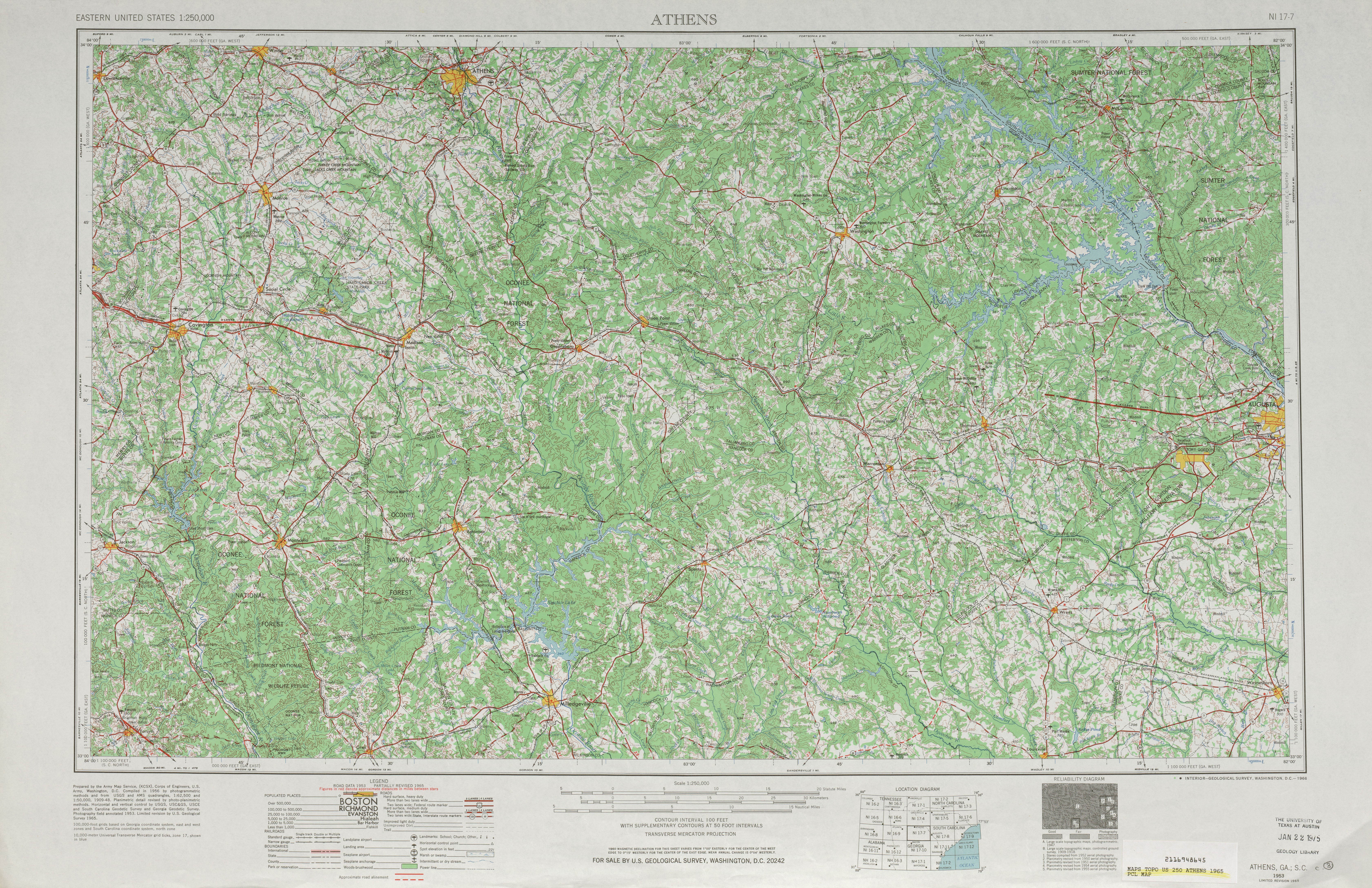 Athens Topographic Map Sheet, United States 1965