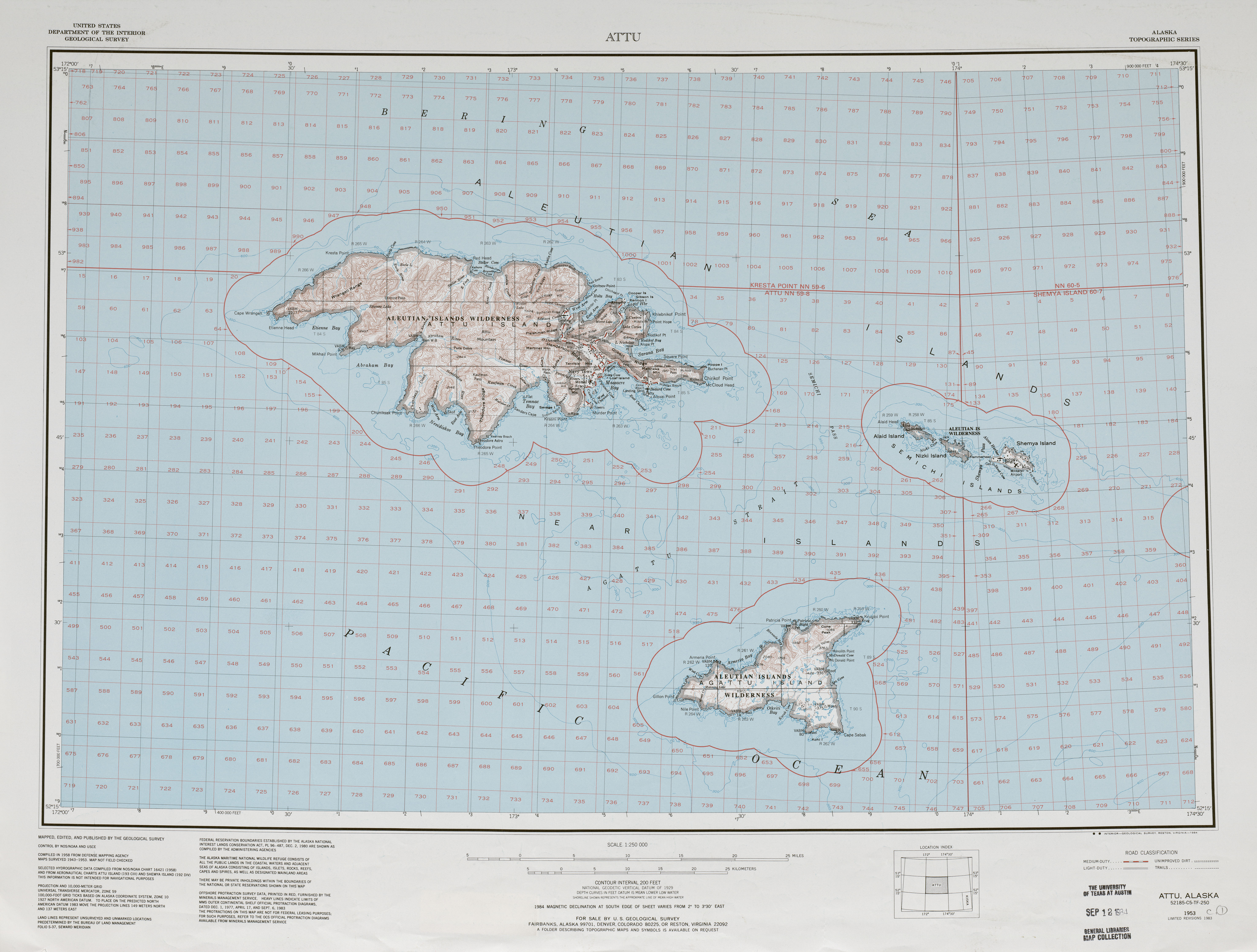Attu Topographic Map Sheet, United States 1982