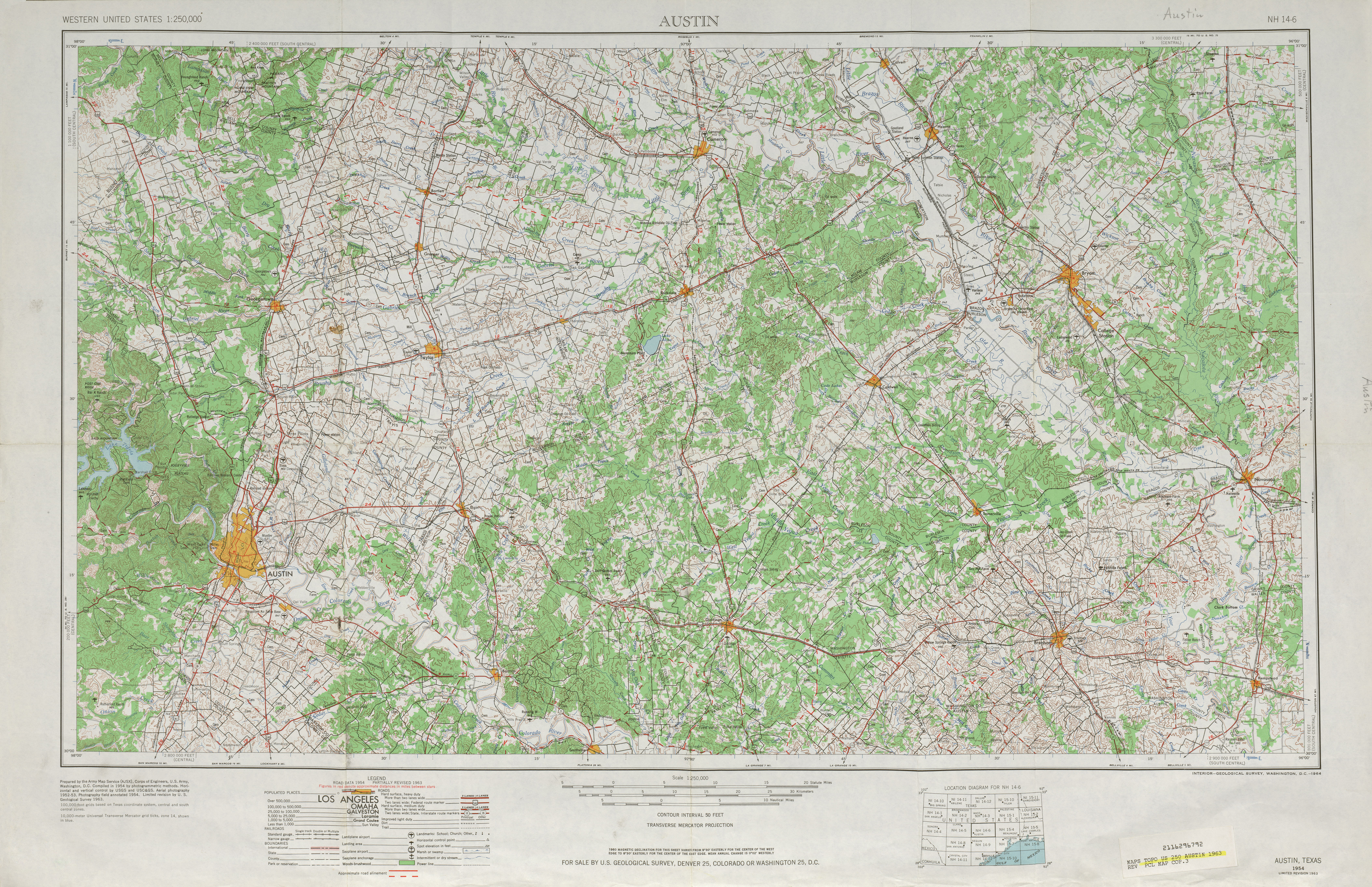 Austin Topographic Map Sheet, United States 1963