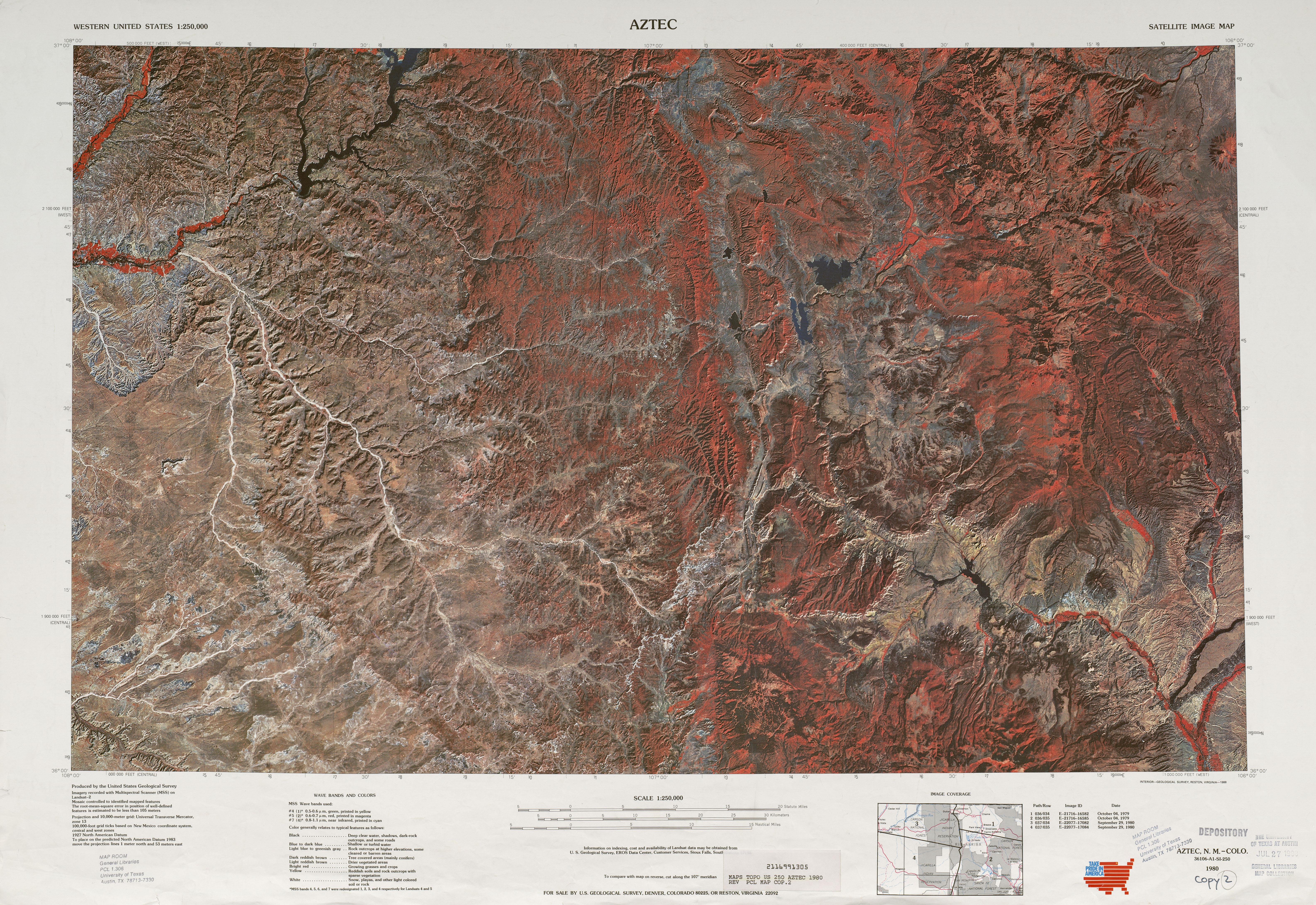 Hoja Aztec de la Imagen Satelital de los Estados Unidos 1980
