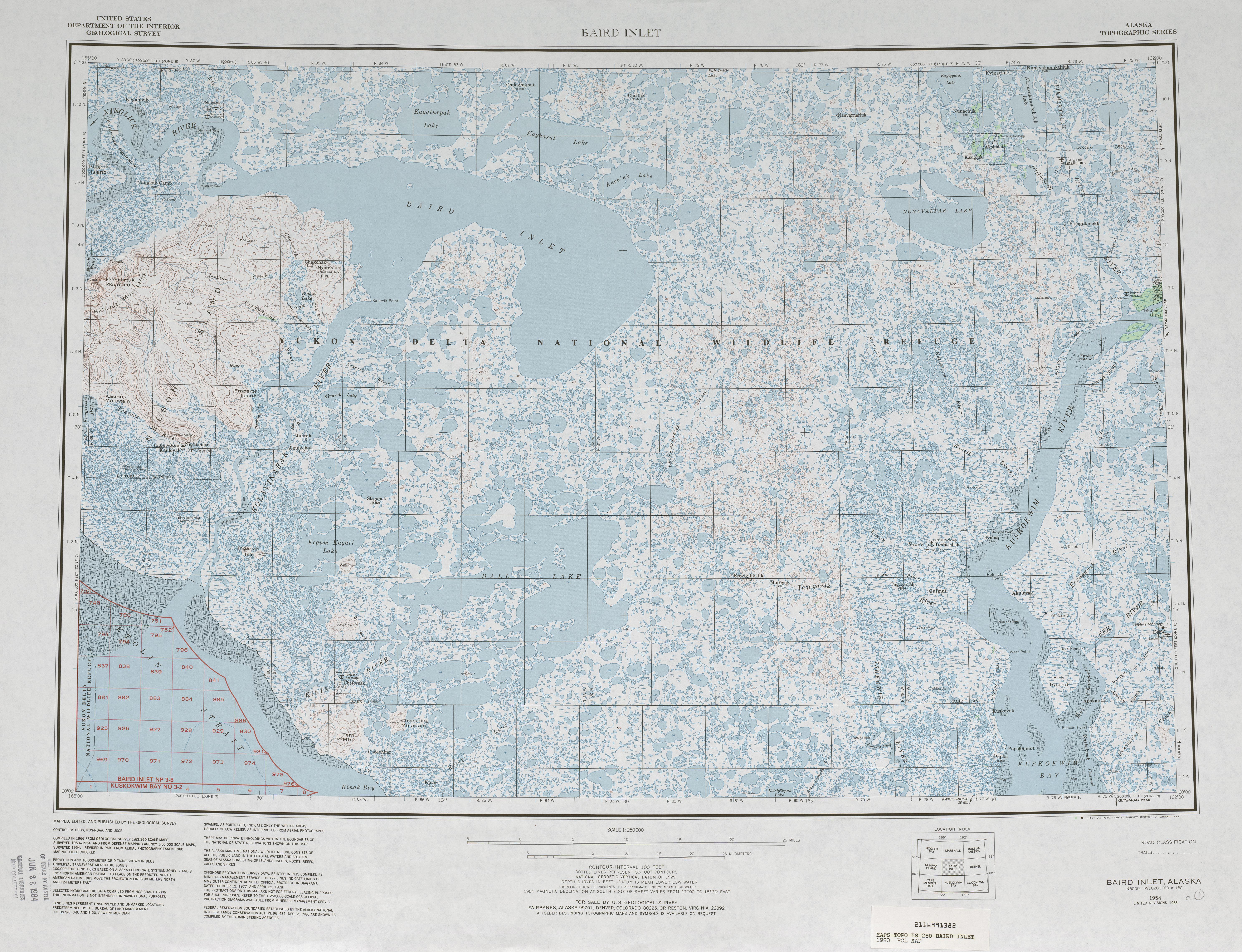 Hoja Baird Inlet del Mapa Topográfico de los Estados Unidos 1983