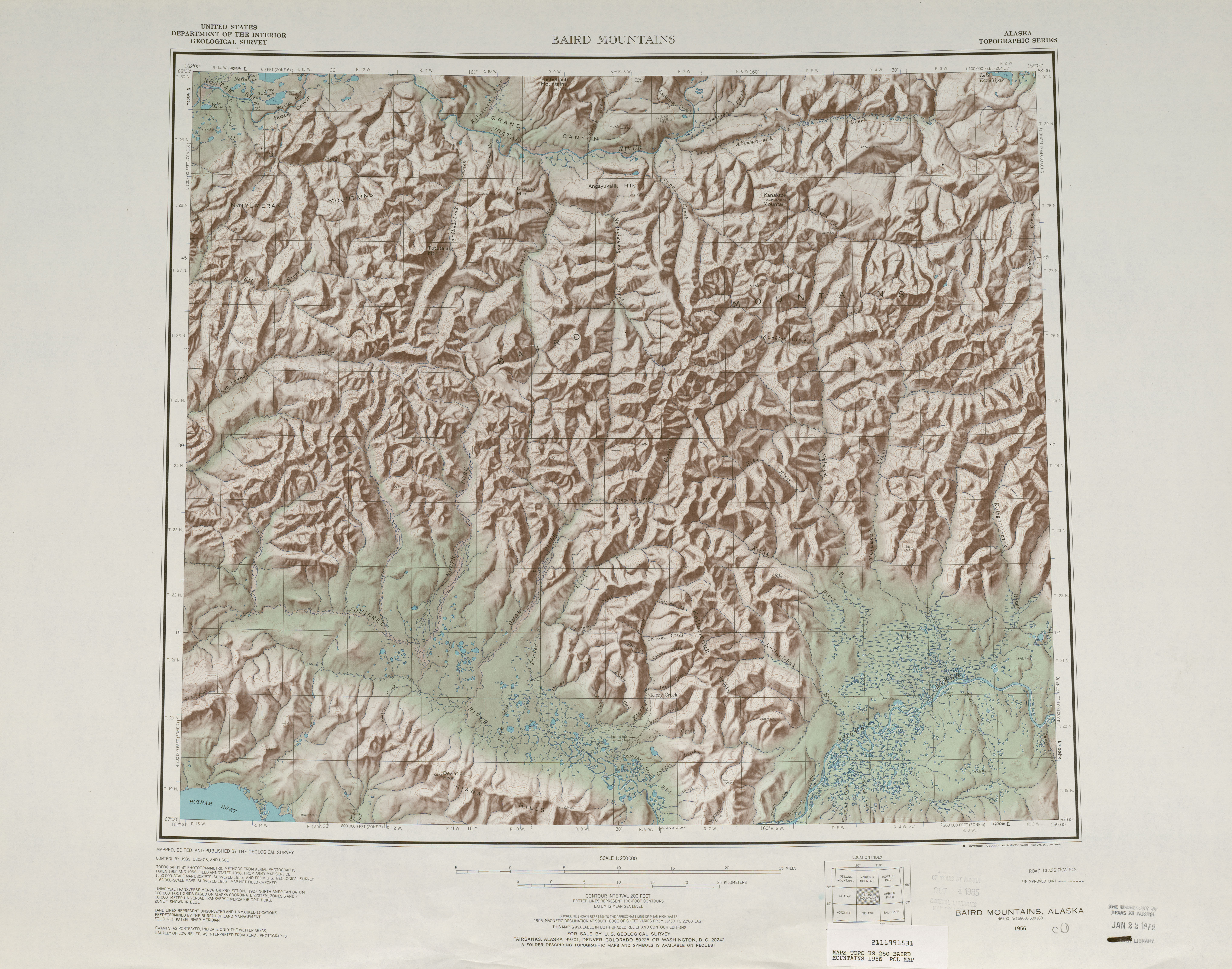Hoja Baird Mountains del Mapa de Relieve Sombreado de los Estados Unidos 1956