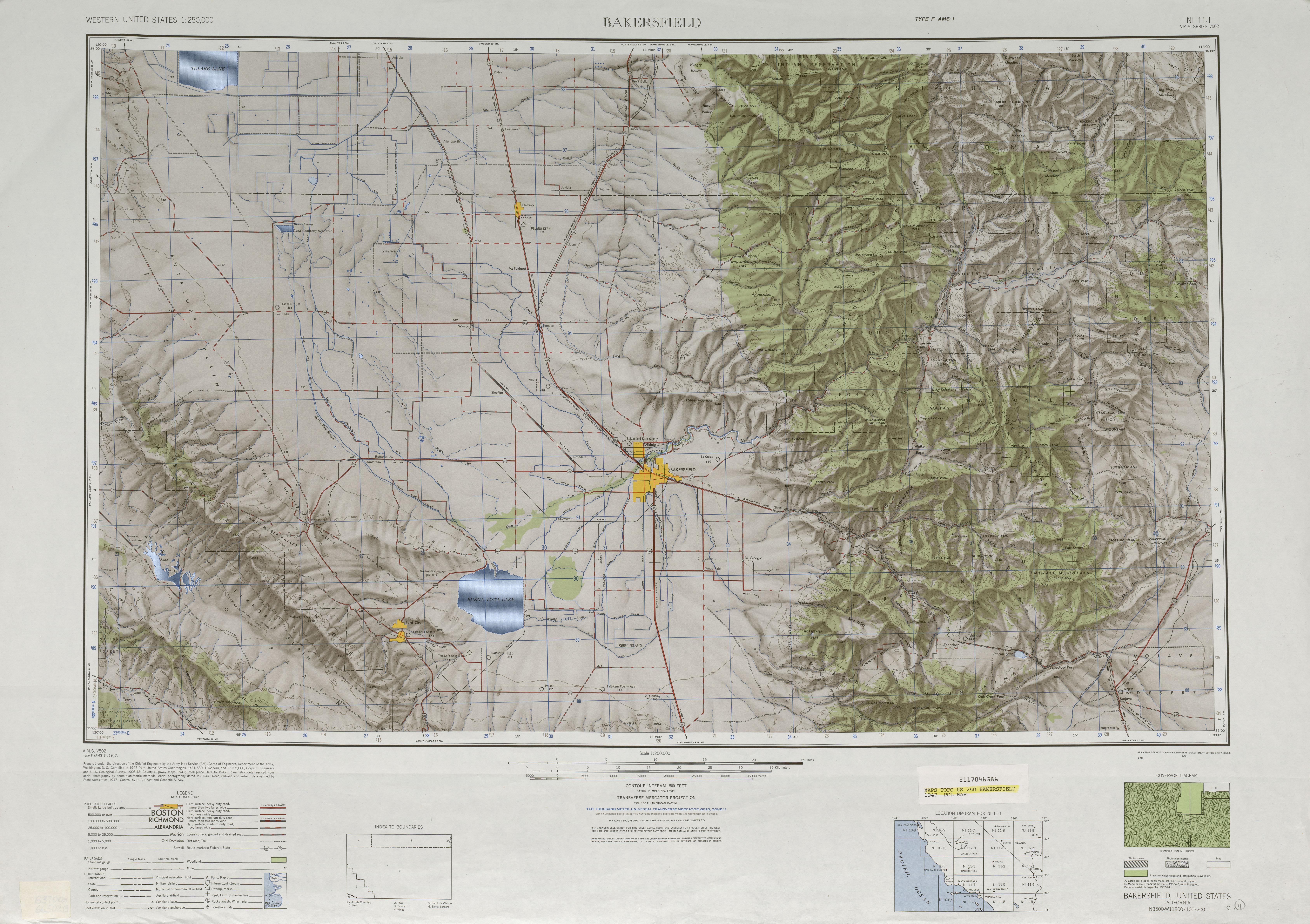 Hoja Bakersfield del Mapa de Relieve Sombreado de los Estados Unidos 1947