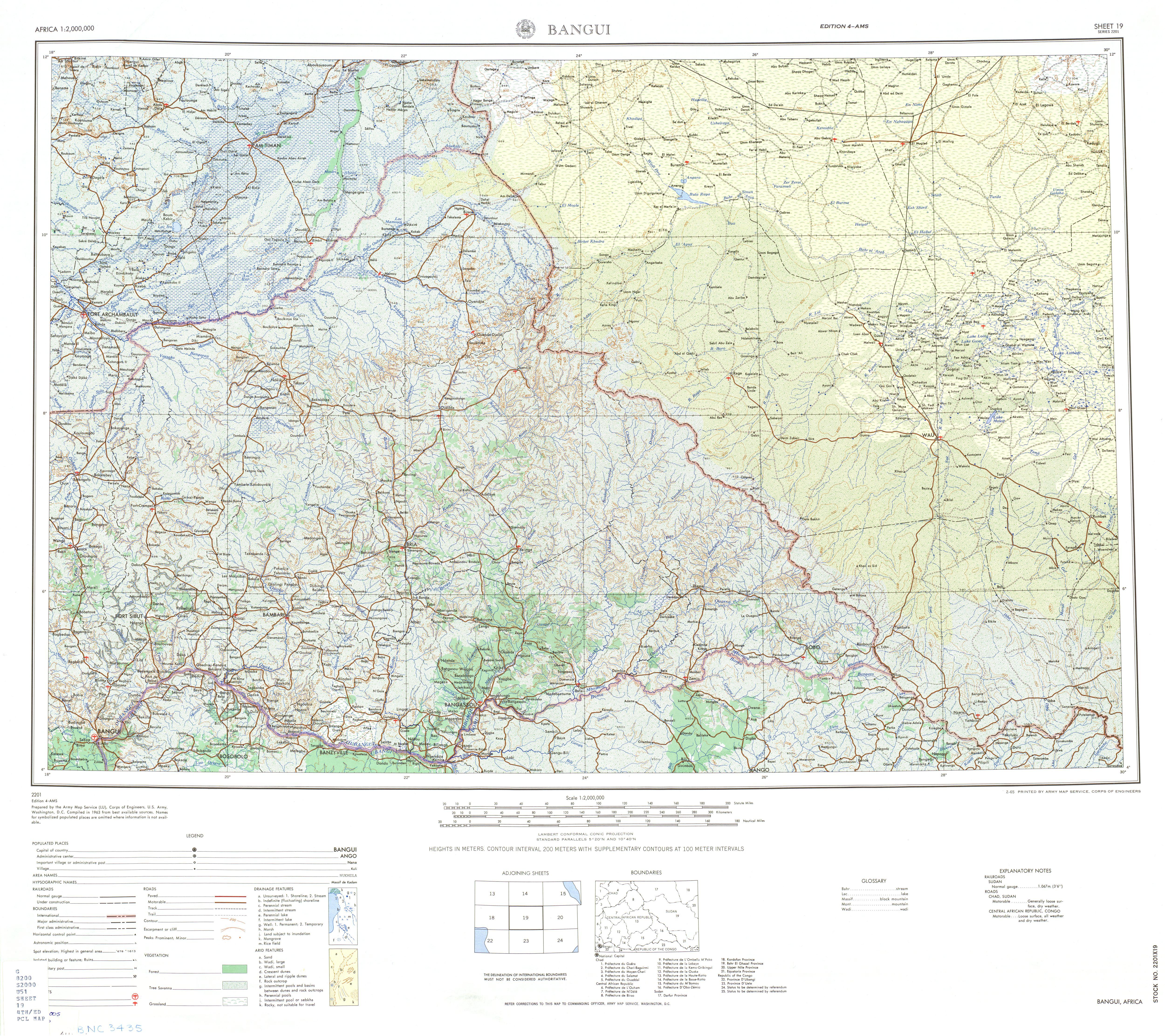Hoja Bangui del Mapa Topográfico de África 1963