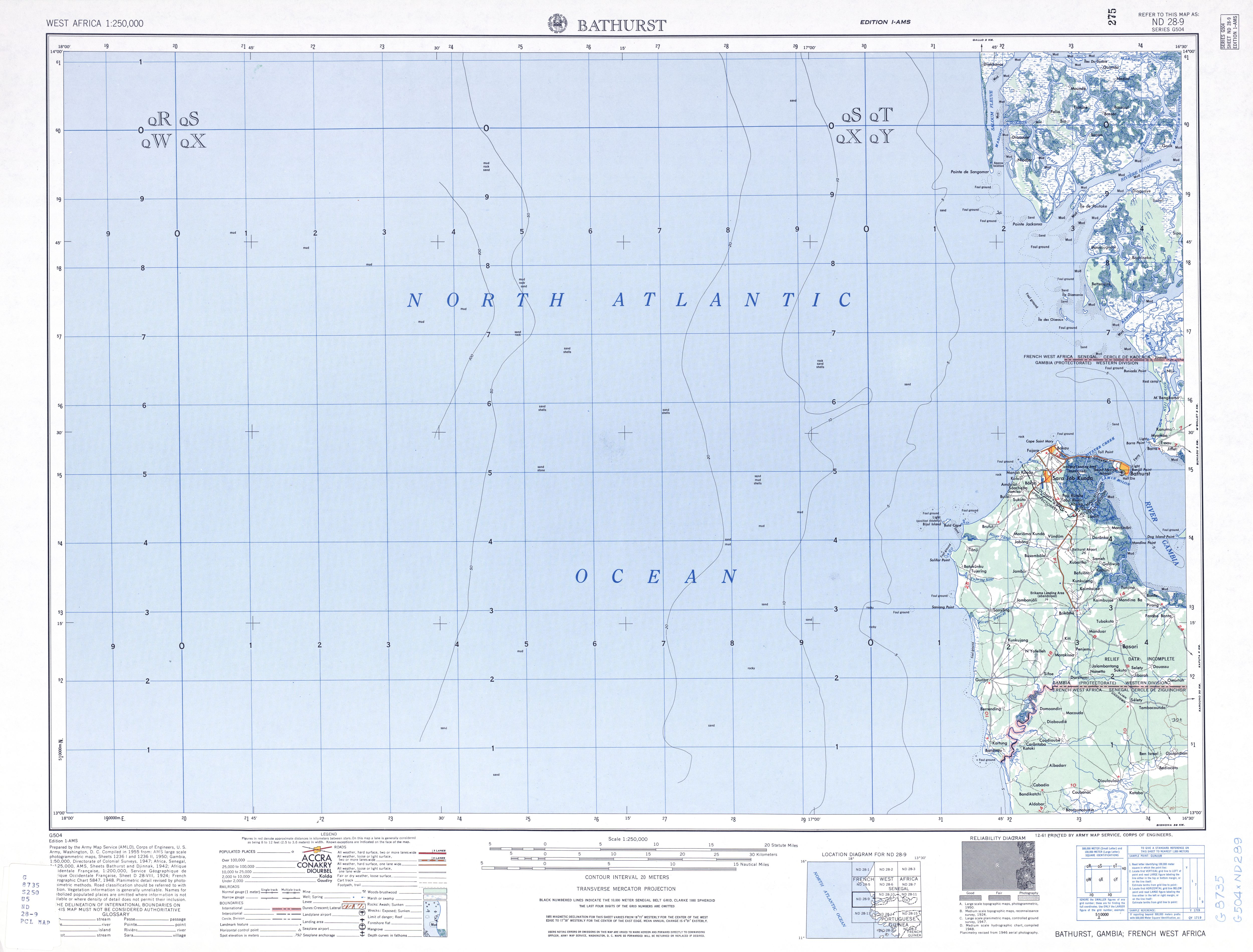 Banjul (Bathurst) Topographic Map Sheet, Western Africa 1955