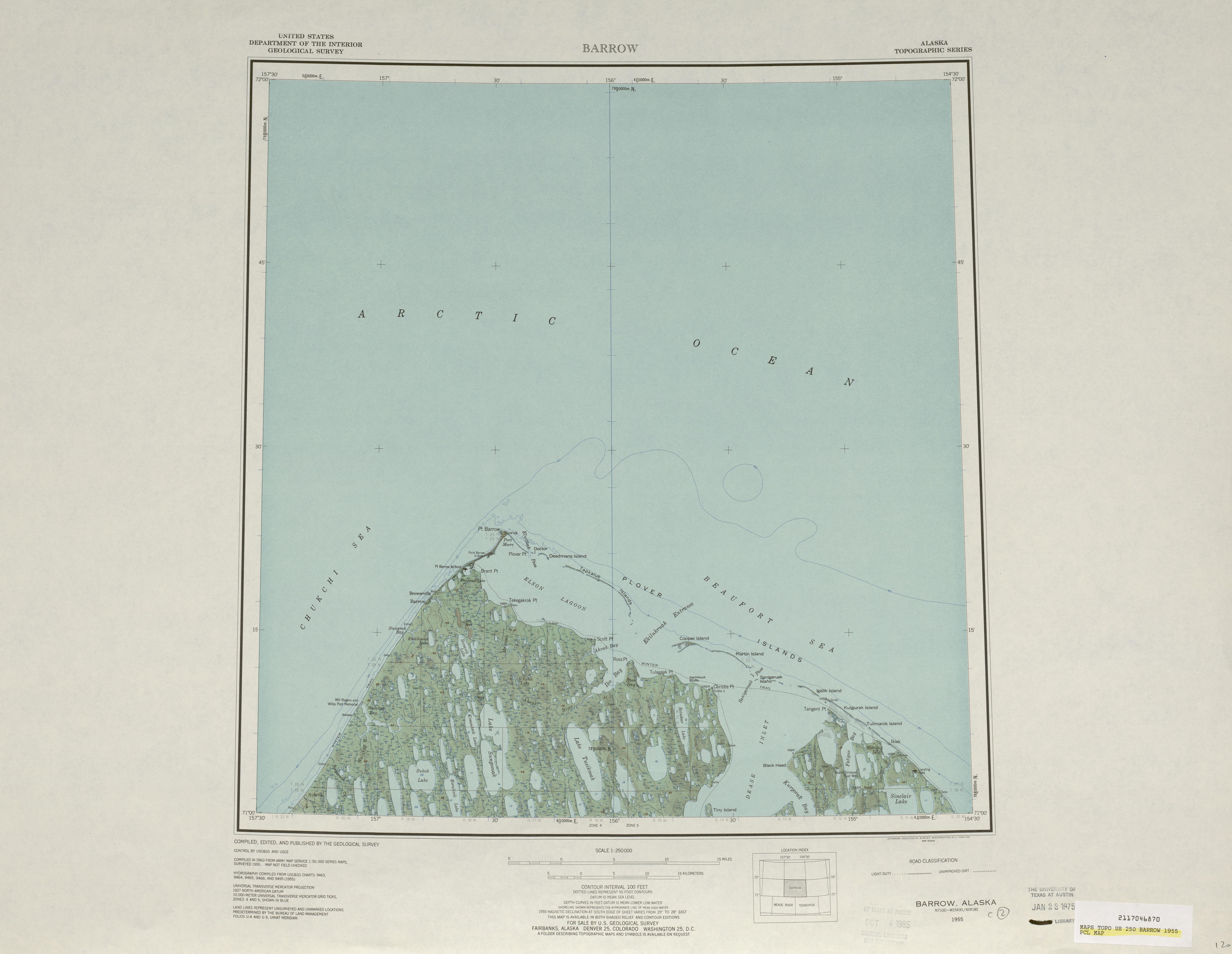 Hoja Barrow del Mapa de Relieve Sombreado de los Estados Unidos 1955