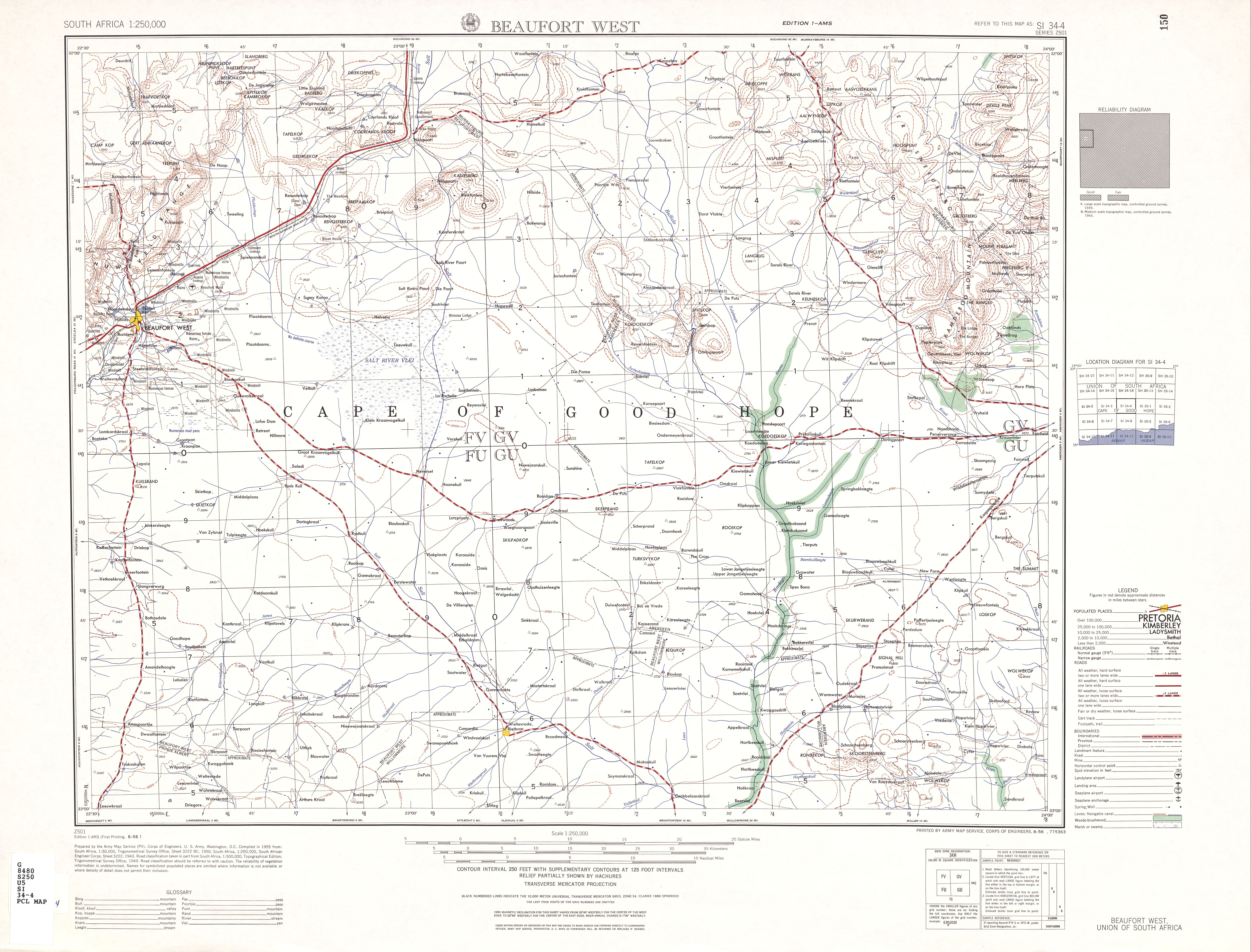 Hoja Beaufort West del Mapa Topográfico de África Meridional 1954
