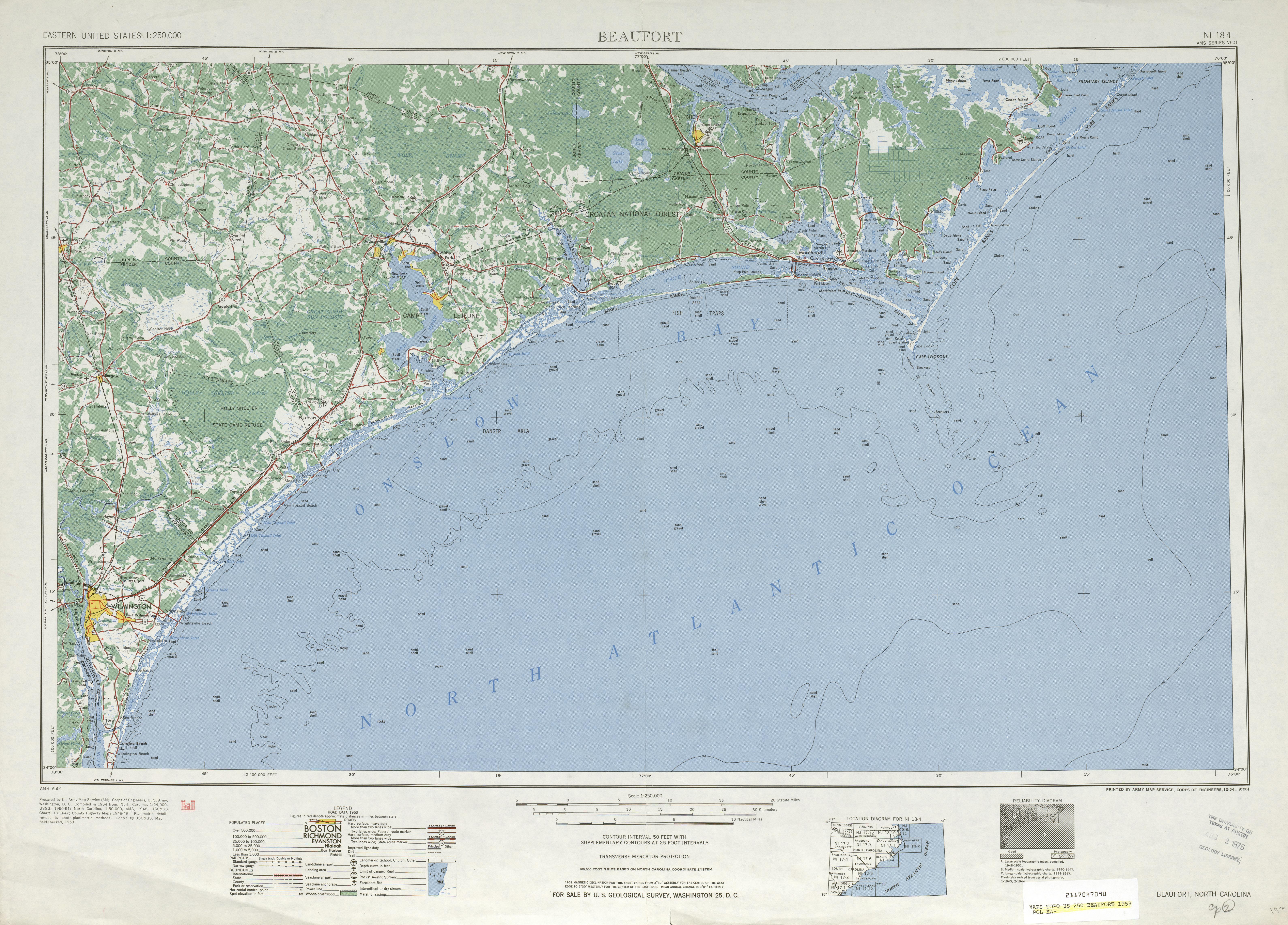 Hoja Beaufort del Mapa Topográfico de los Estados Unidos 1953