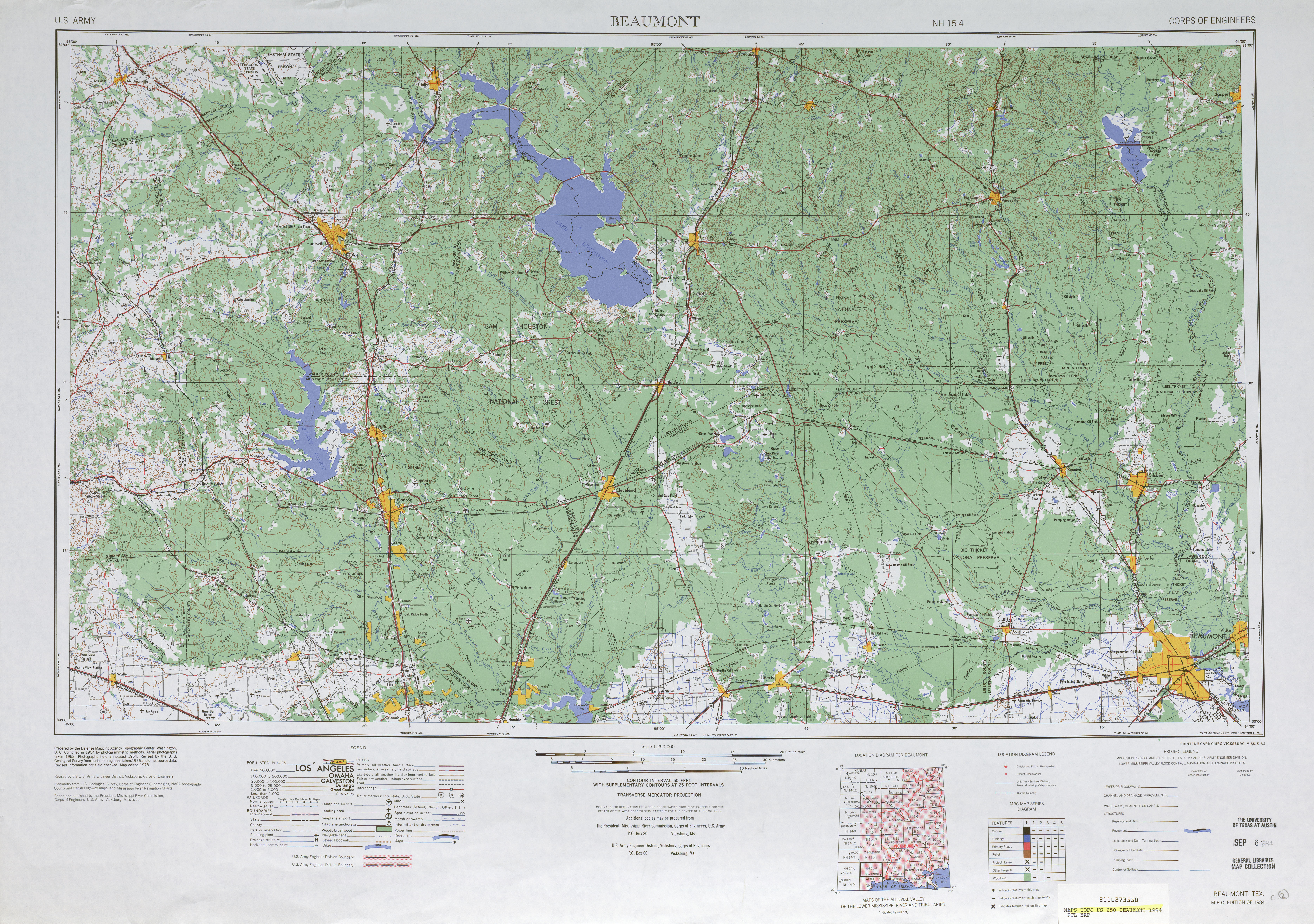 Beaumont Topographic Map Sheet, United States 1984
