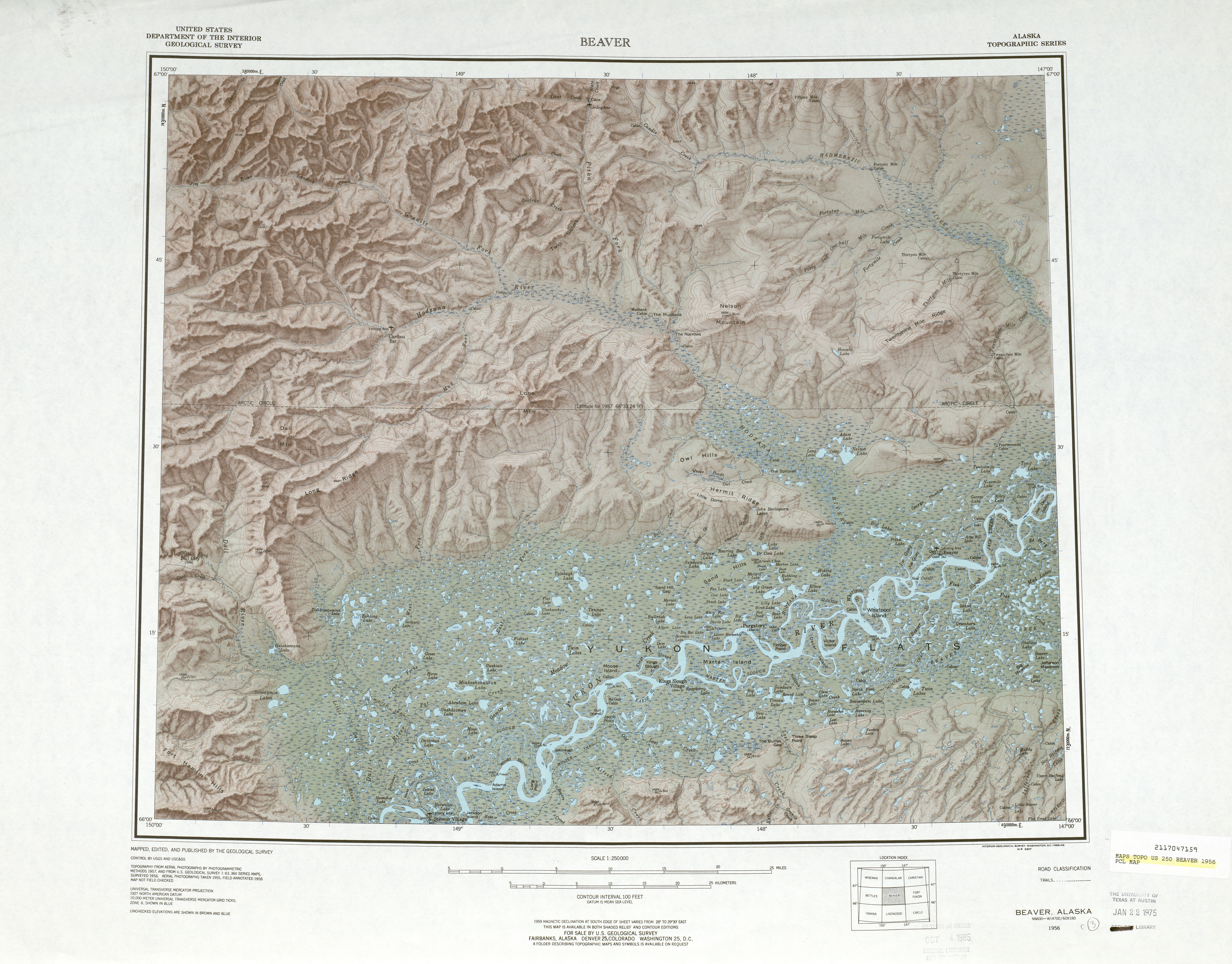 Beaver Shaded Relief Map Sheet, United States 1956
