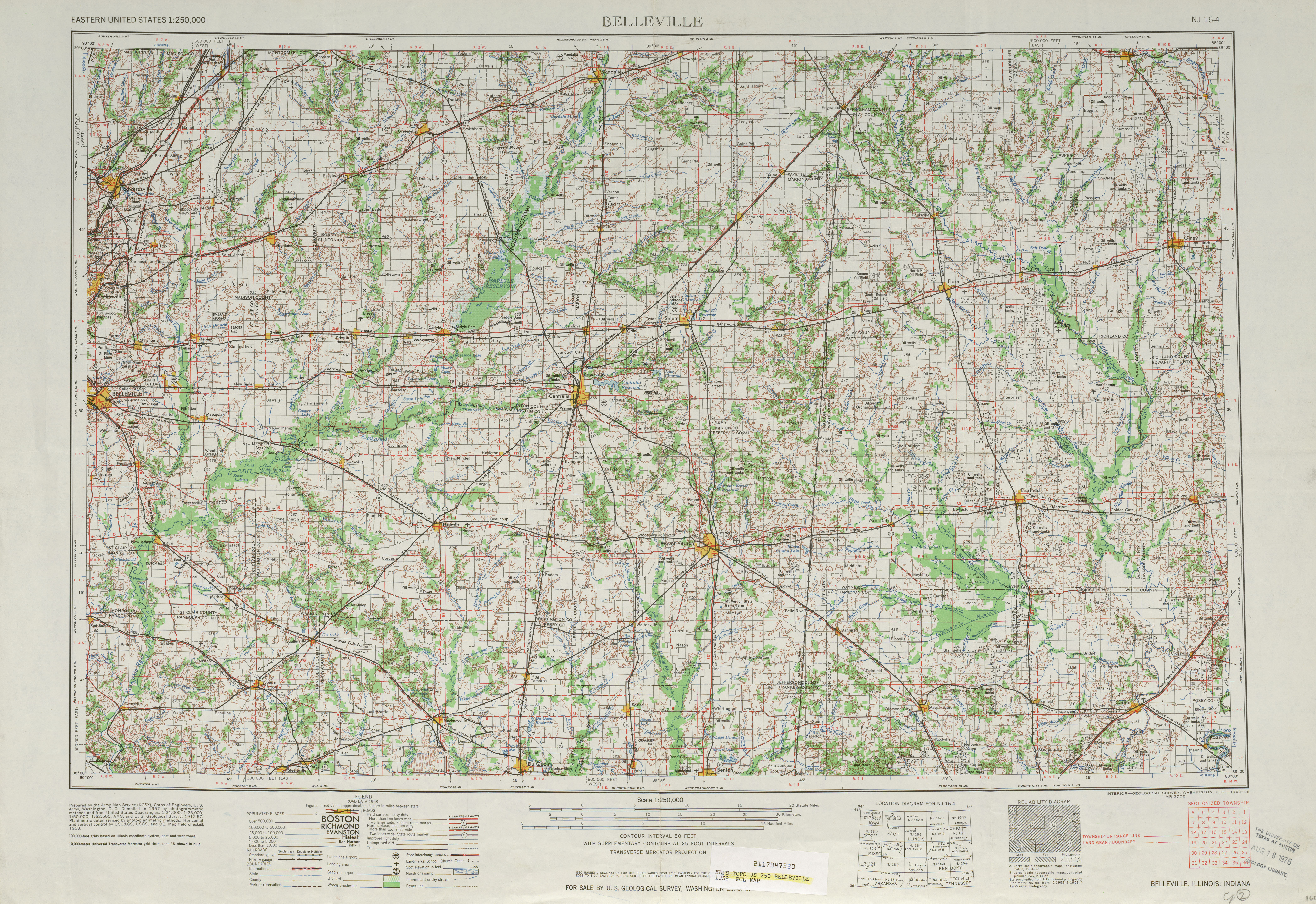 Belleville Topographic Map Sheet, United States 1958