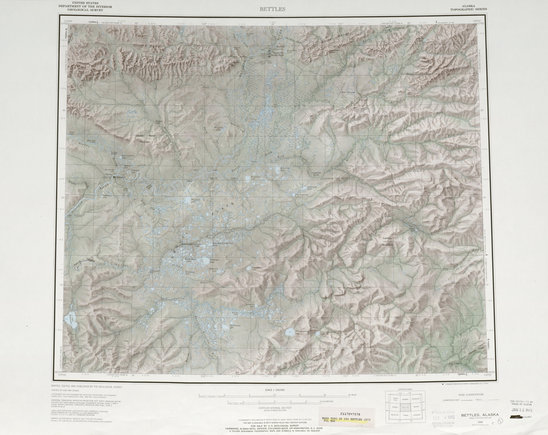 Hoja Bettles del Mapa de Relieve Sombreado de los Estados Unidos 1973