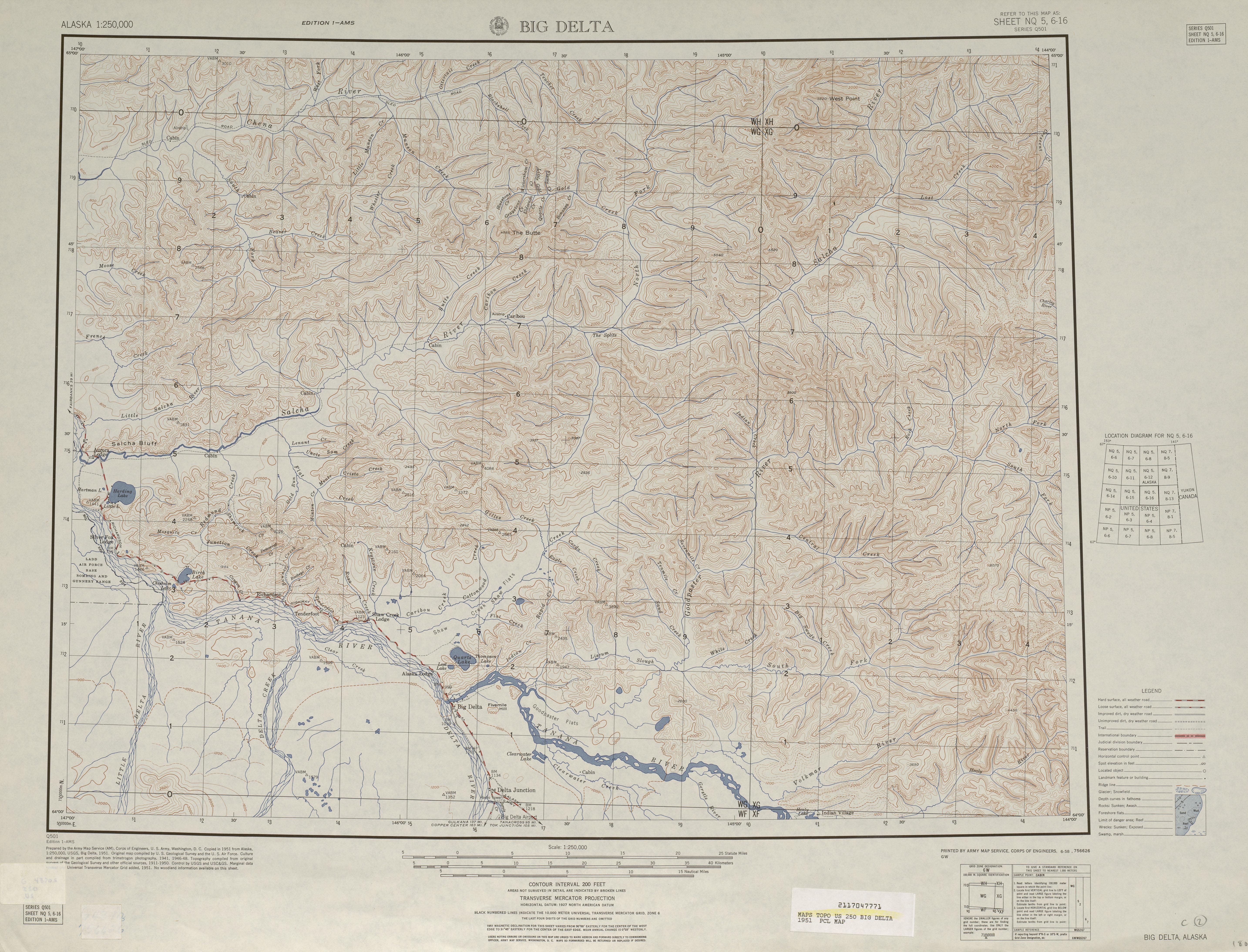 Hoja Big Delta del Mapa Topográfico de los Estados Unidos 1951
