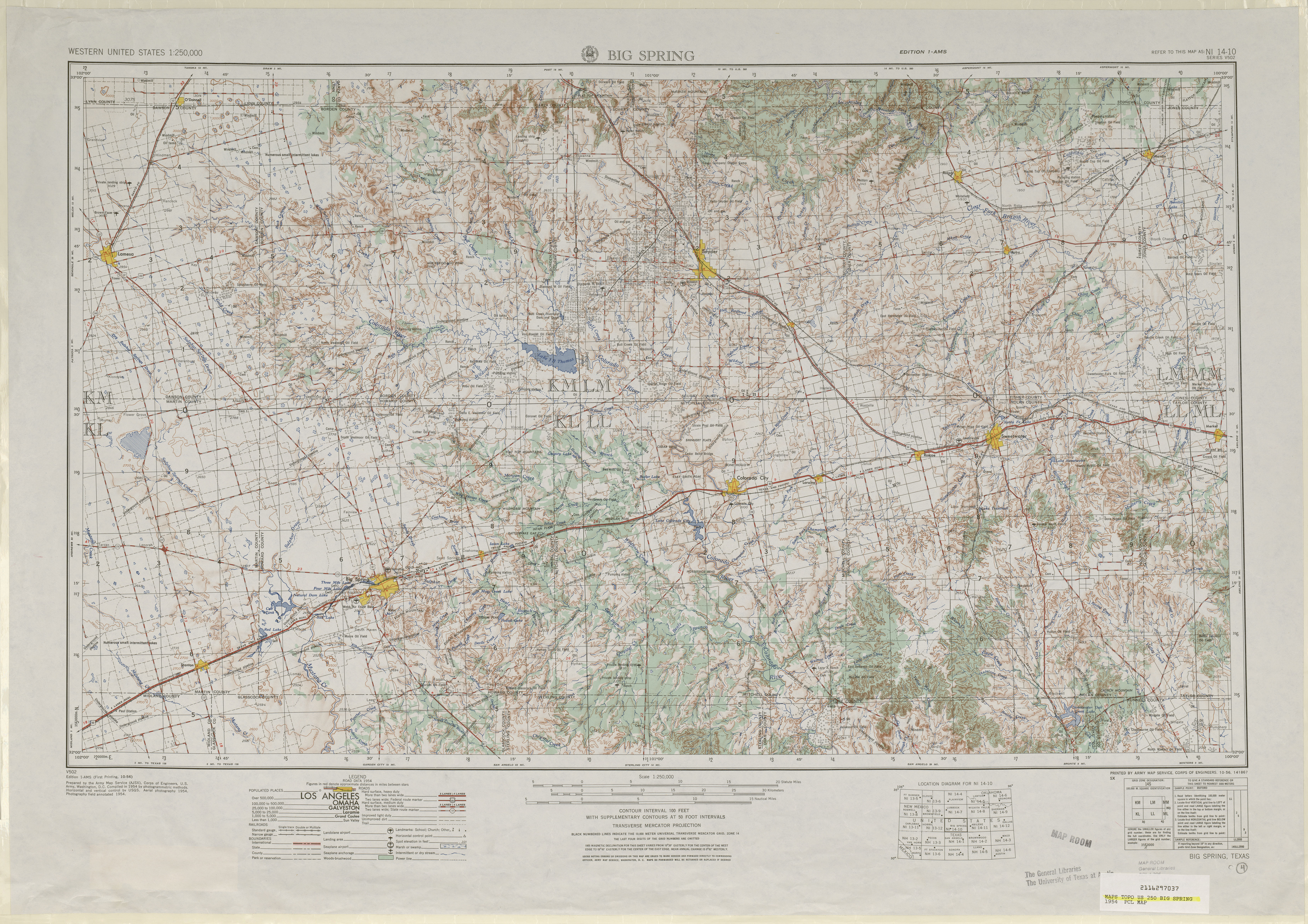 Big Spring Topographic Map Sheet, United States 1954