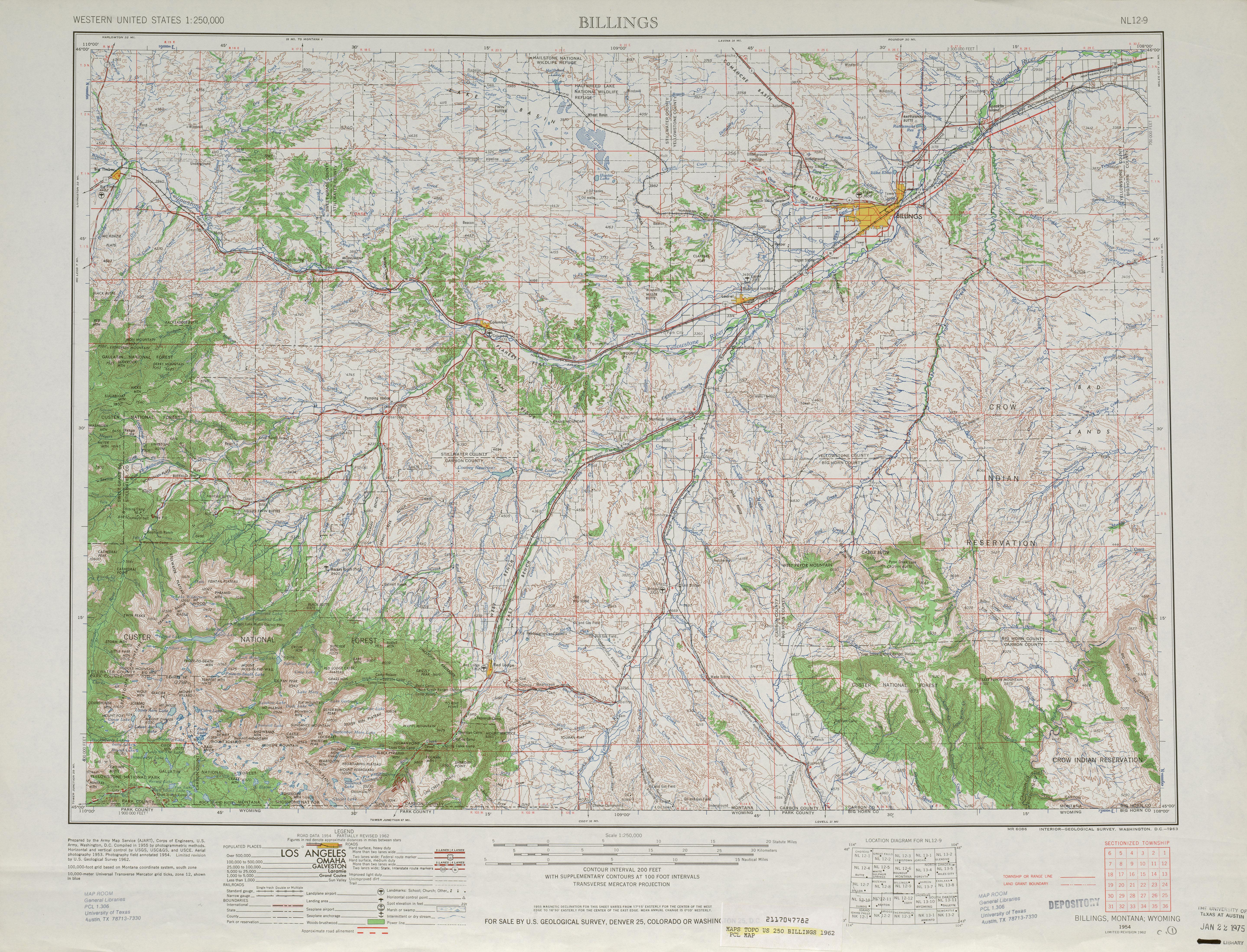 Hoja Billings del Mapa Topográfico de los Estados Unidos 1962