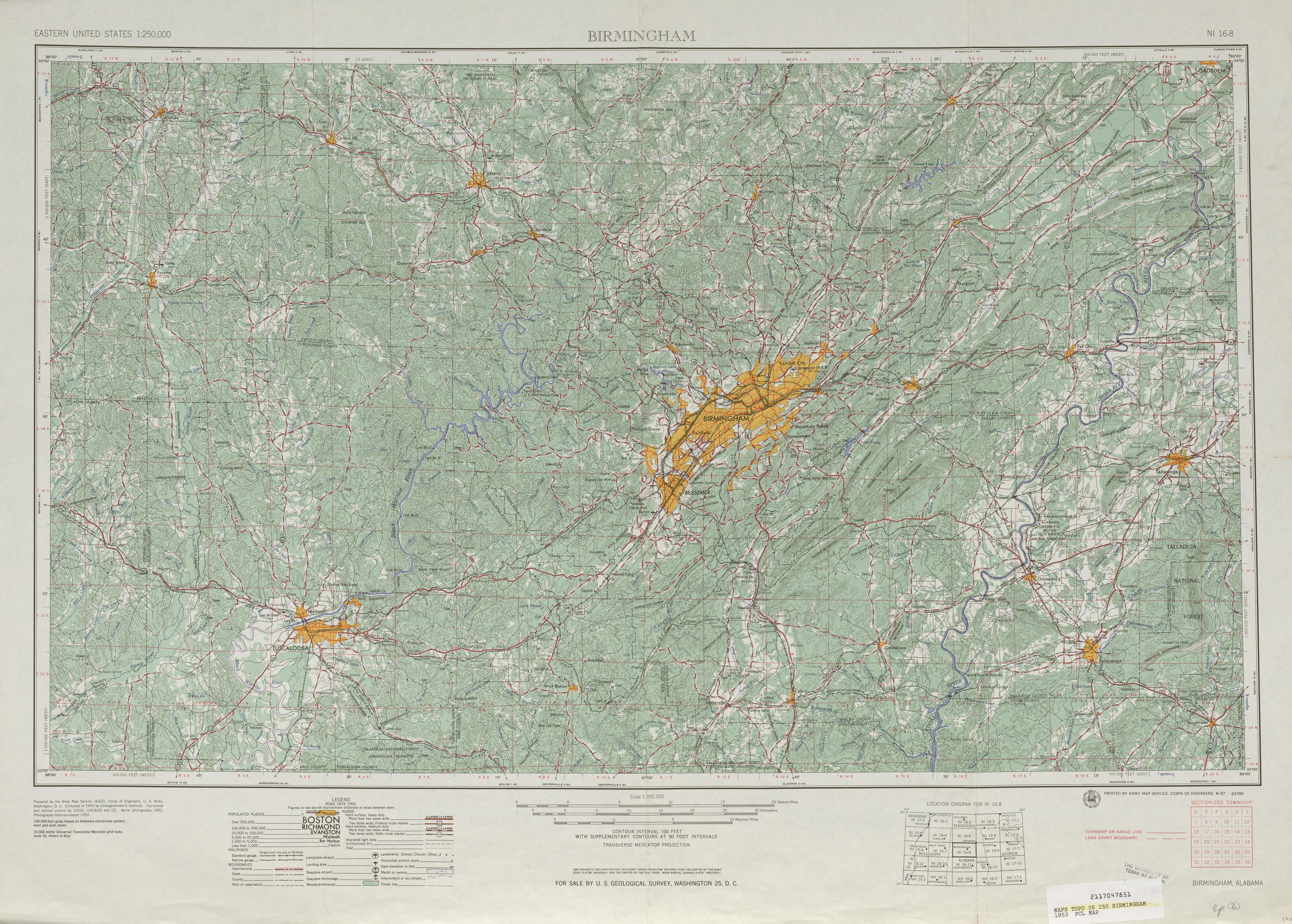 Hoja Birmingham del Mapa Topográfico de los Estados Unidos 1953