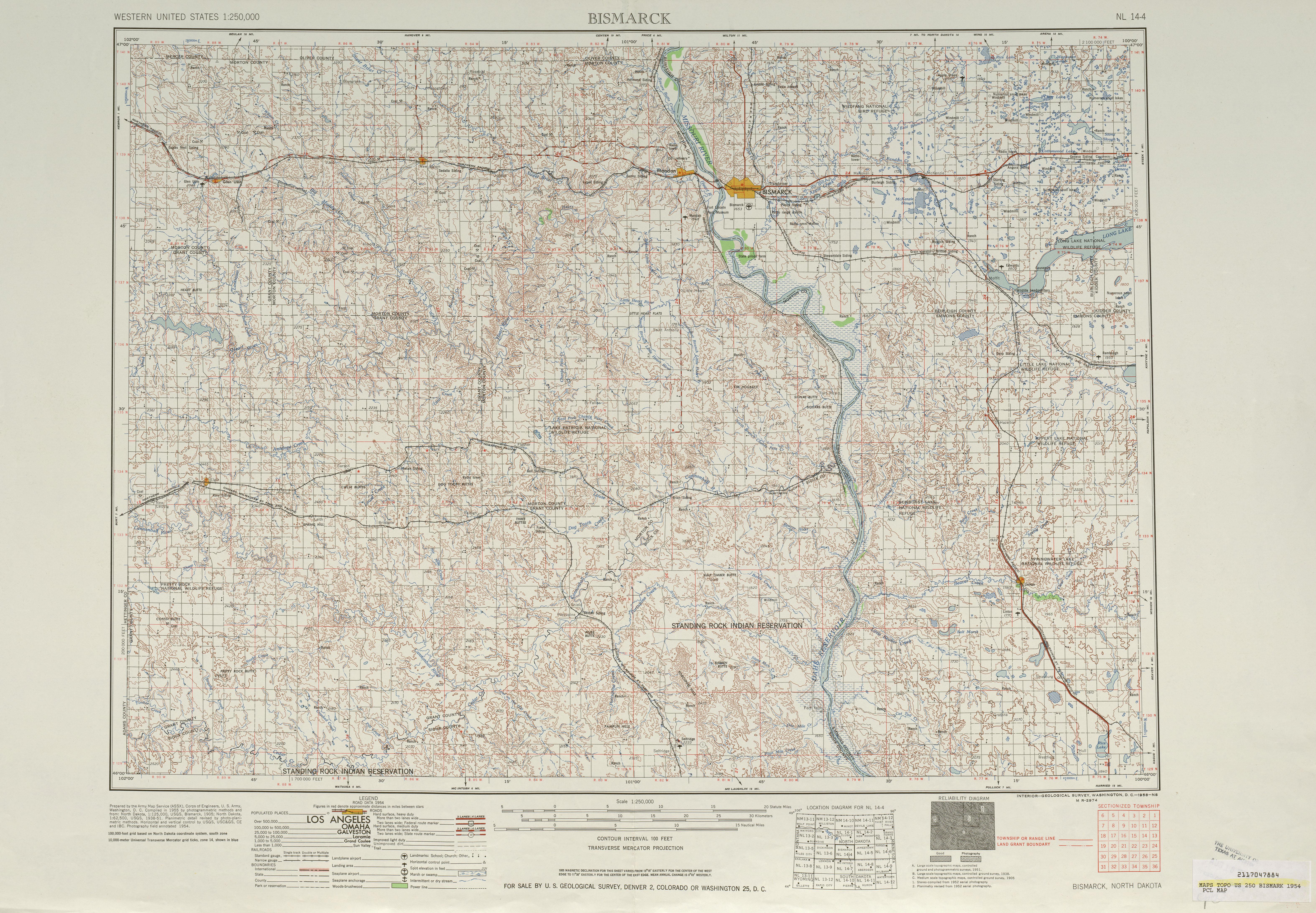 Hoja Bismarck del Mapa Topográfico de los Estados Unidos 1954