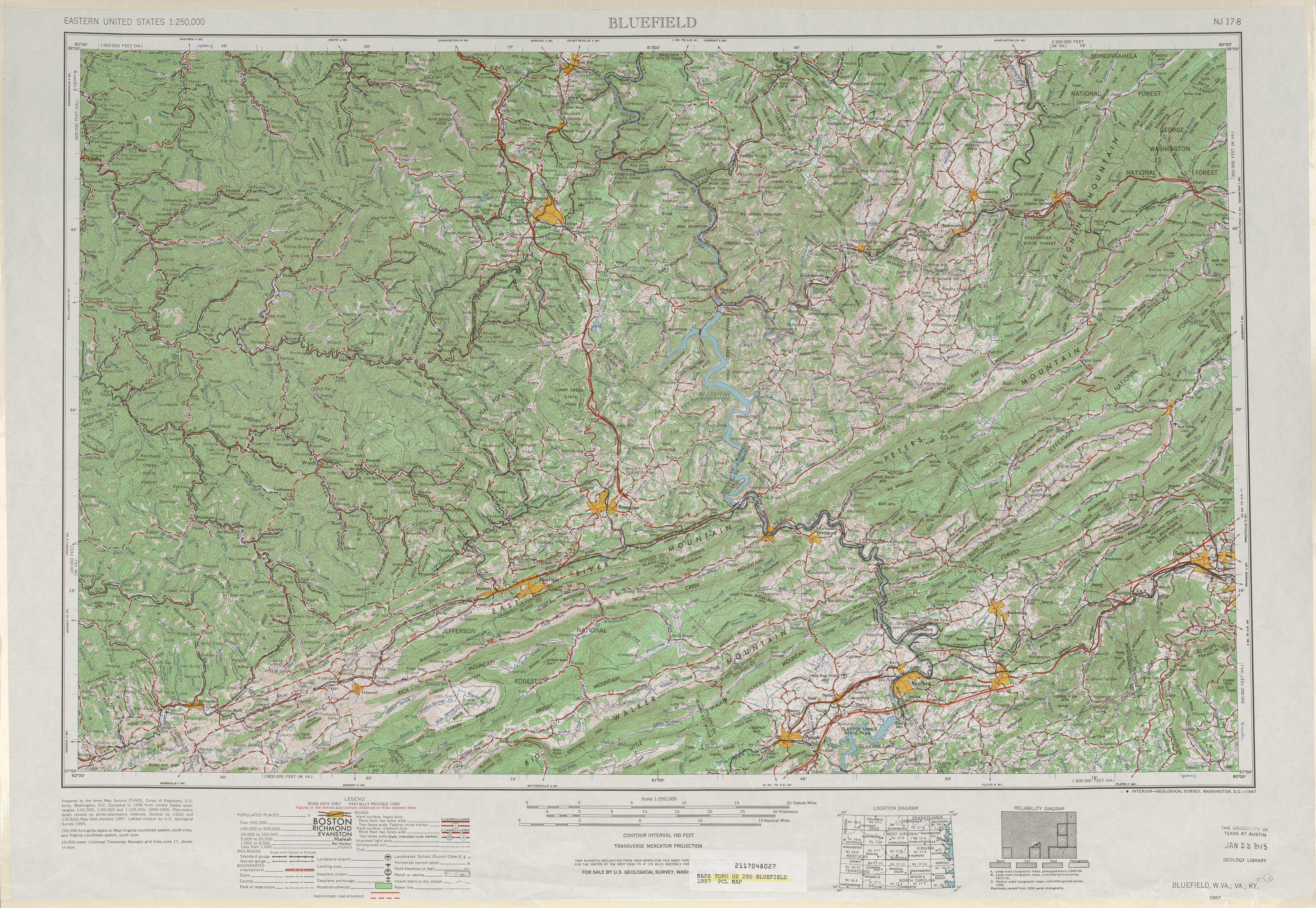 Bluefield Topographic Map Sheet, United States 1957