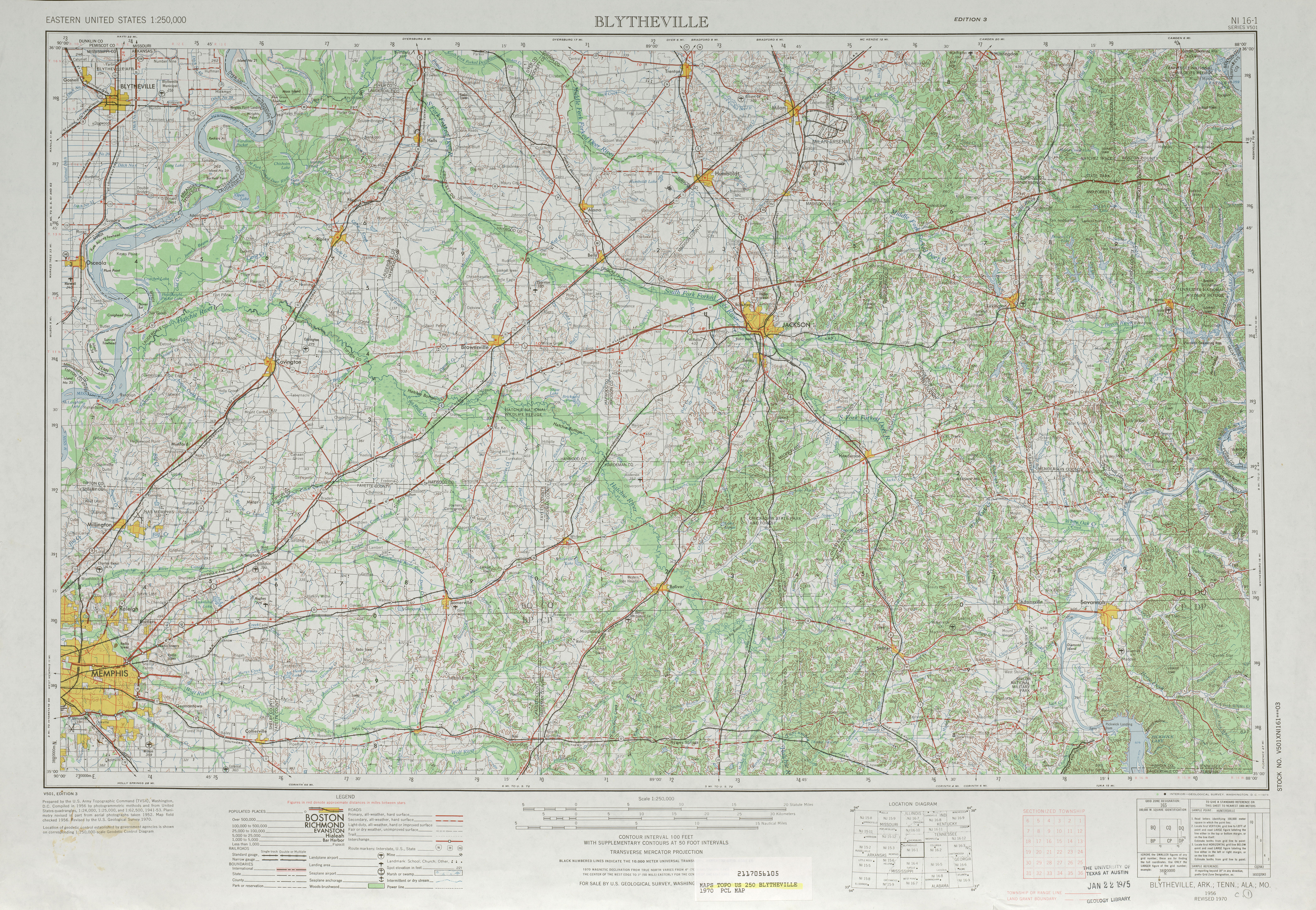 Blytheville Topographic Map Sheet, United States 1970