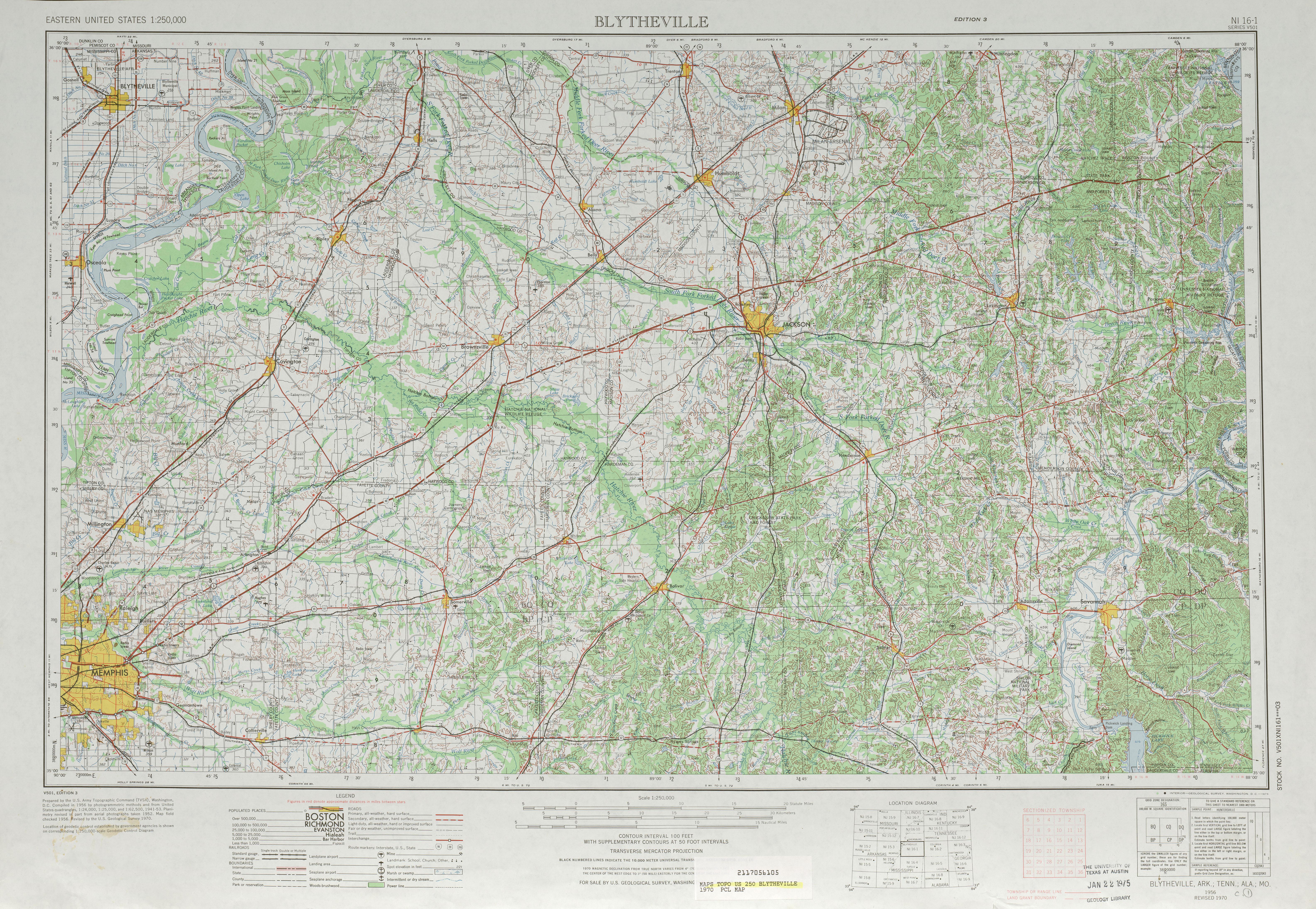 Hoja Blytheville del Mapa Topográfico de los Estados Unidos 1970