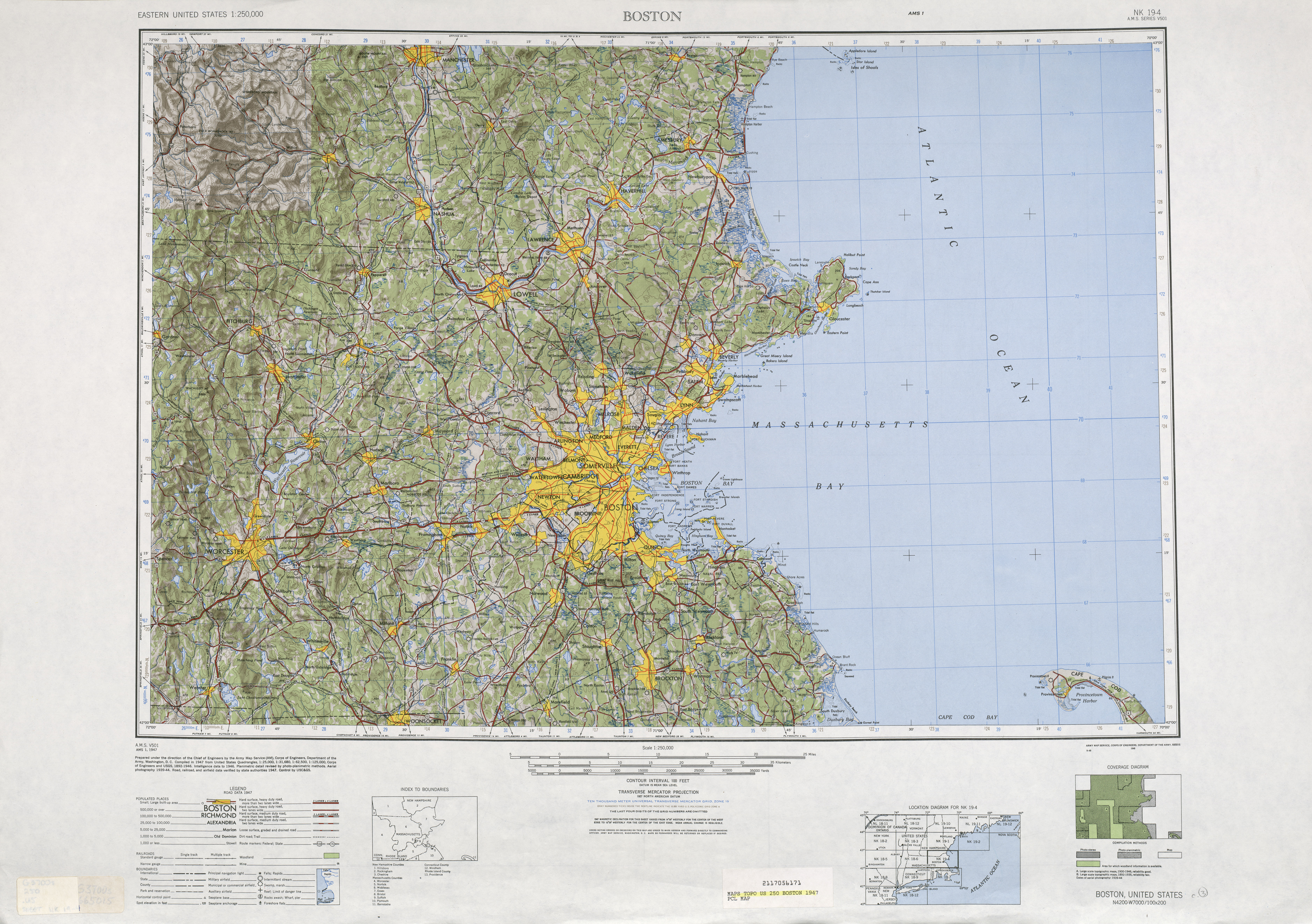 Hoja Boston del Mapa de Relieve Sombreado de los Estados Unidos 1947