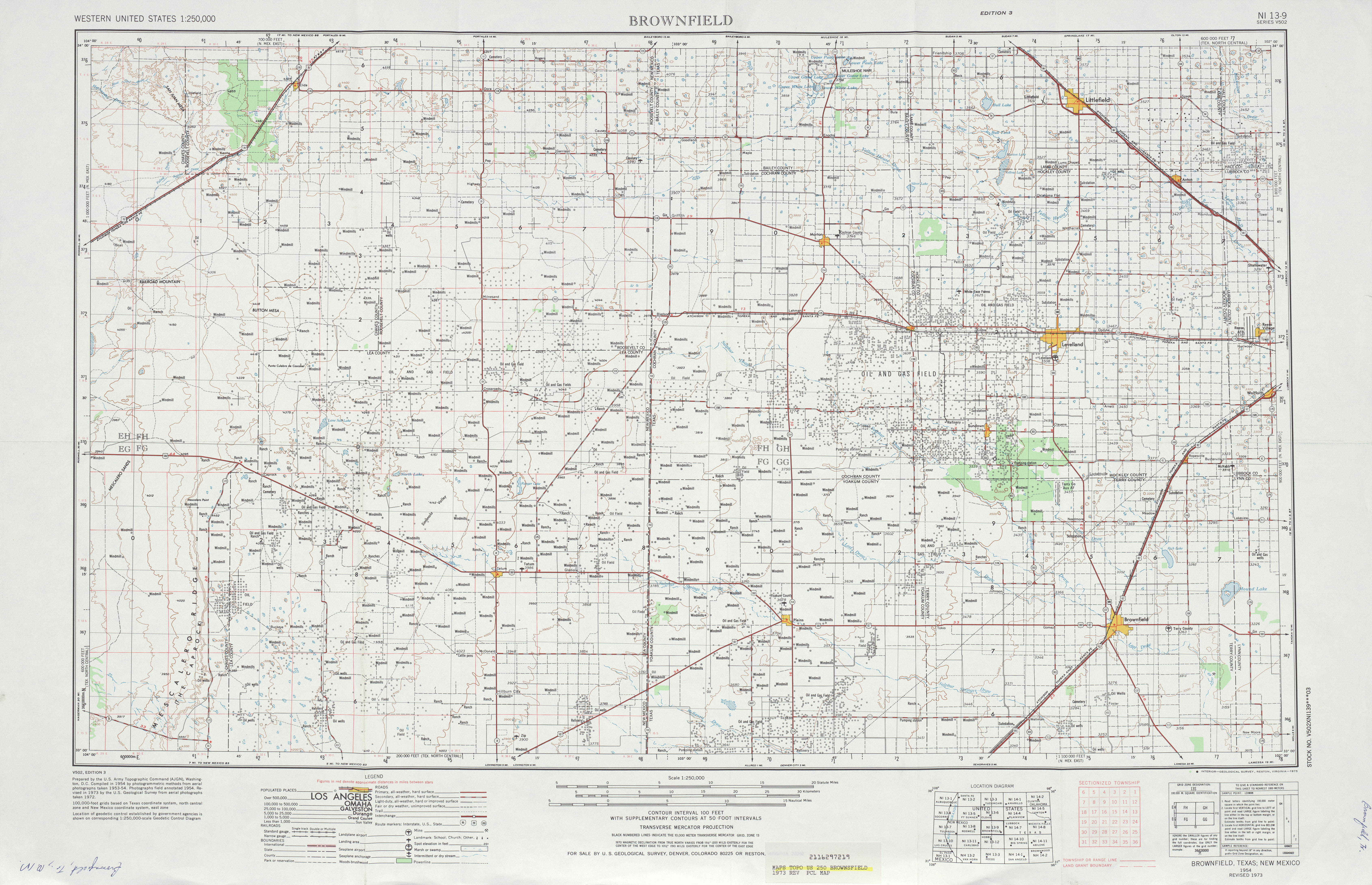 Brownfield Topographic Map Sheet, United States 1973
