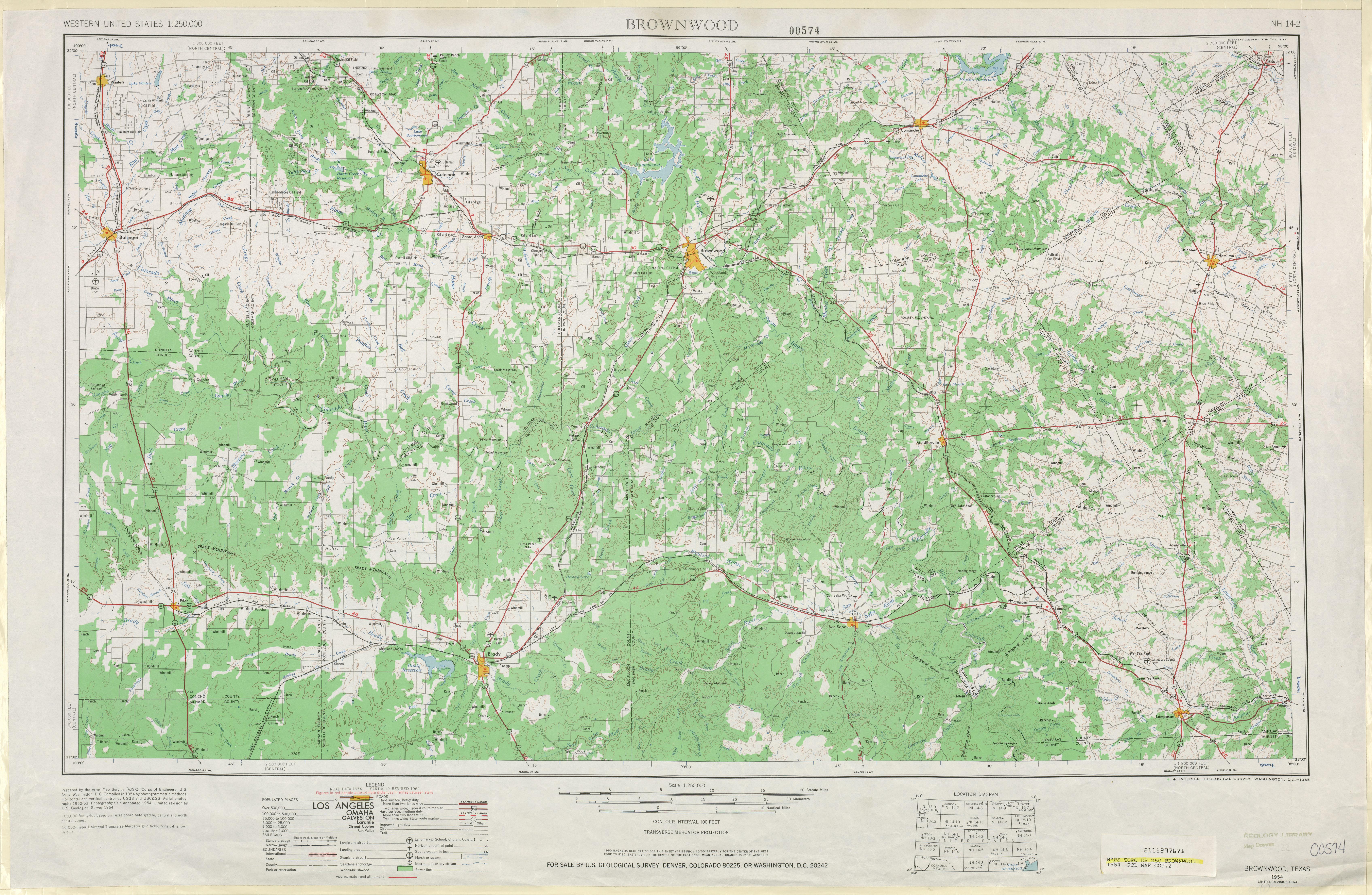 Hoja Brownwood del Mapa Topográfico de los Estados Unidos 1964