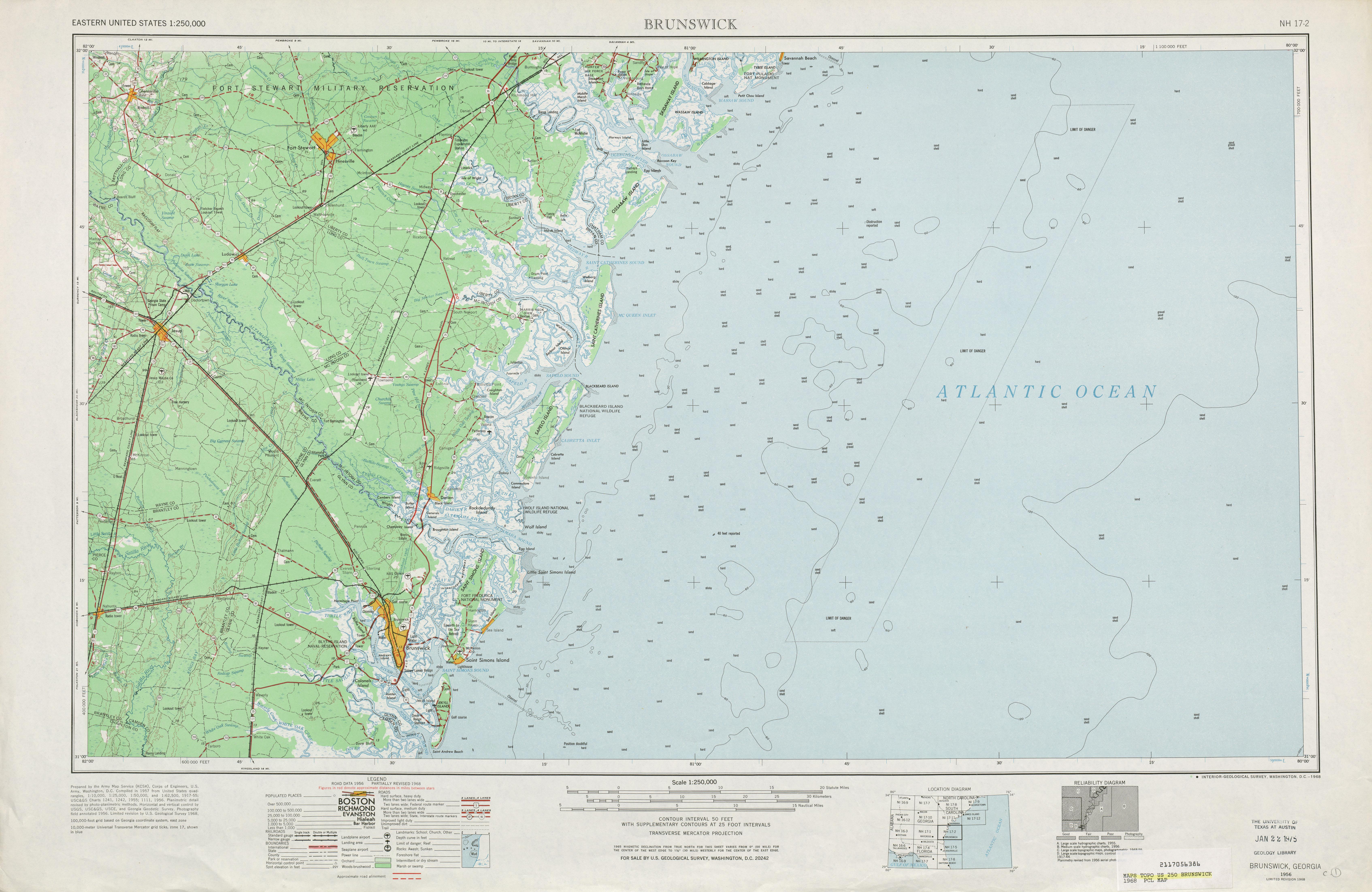 Brunswick Topographic Map Sheet, United States 1968