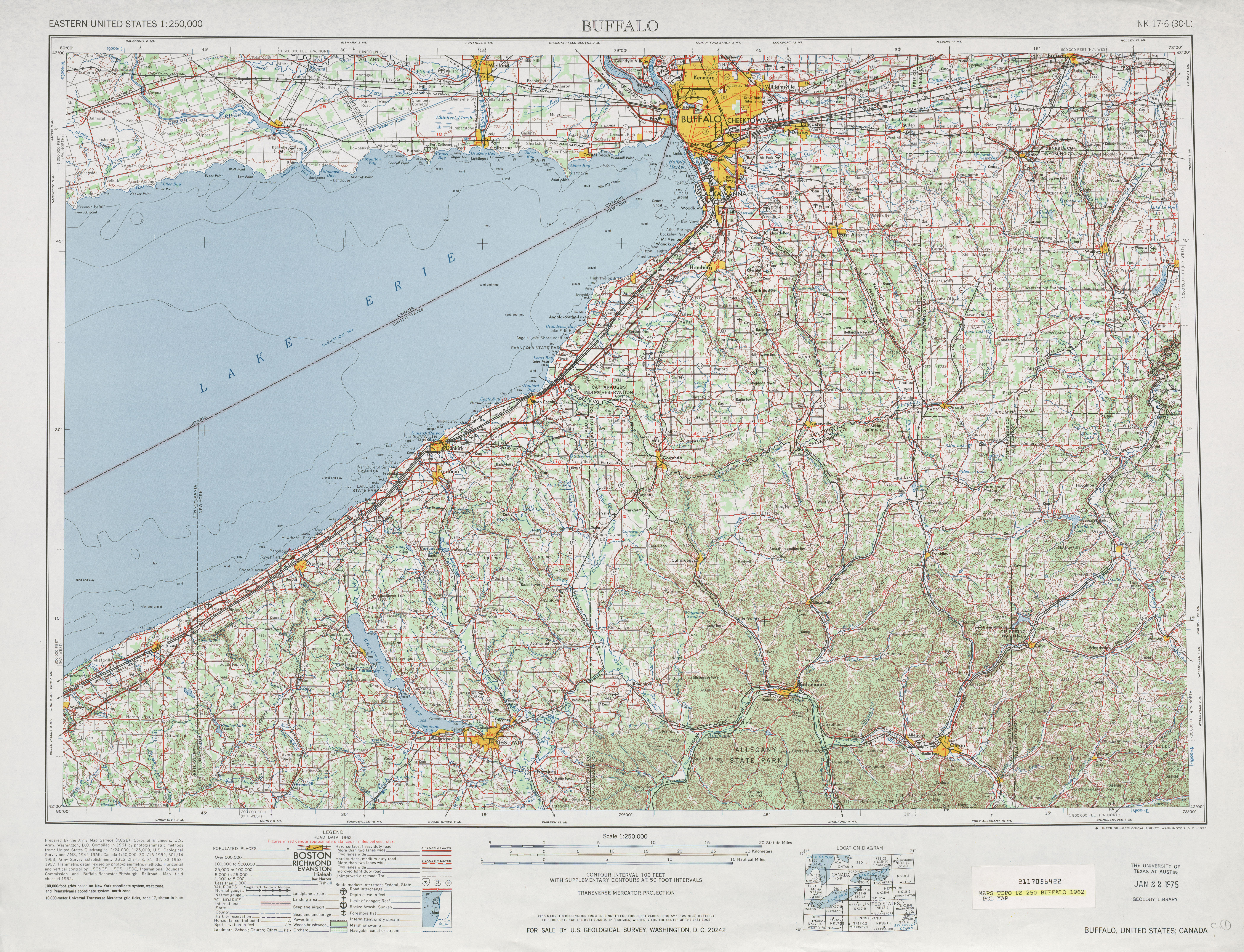 Hoja Buffalo del Mapa Topográfico de los Estados Unidos 1962