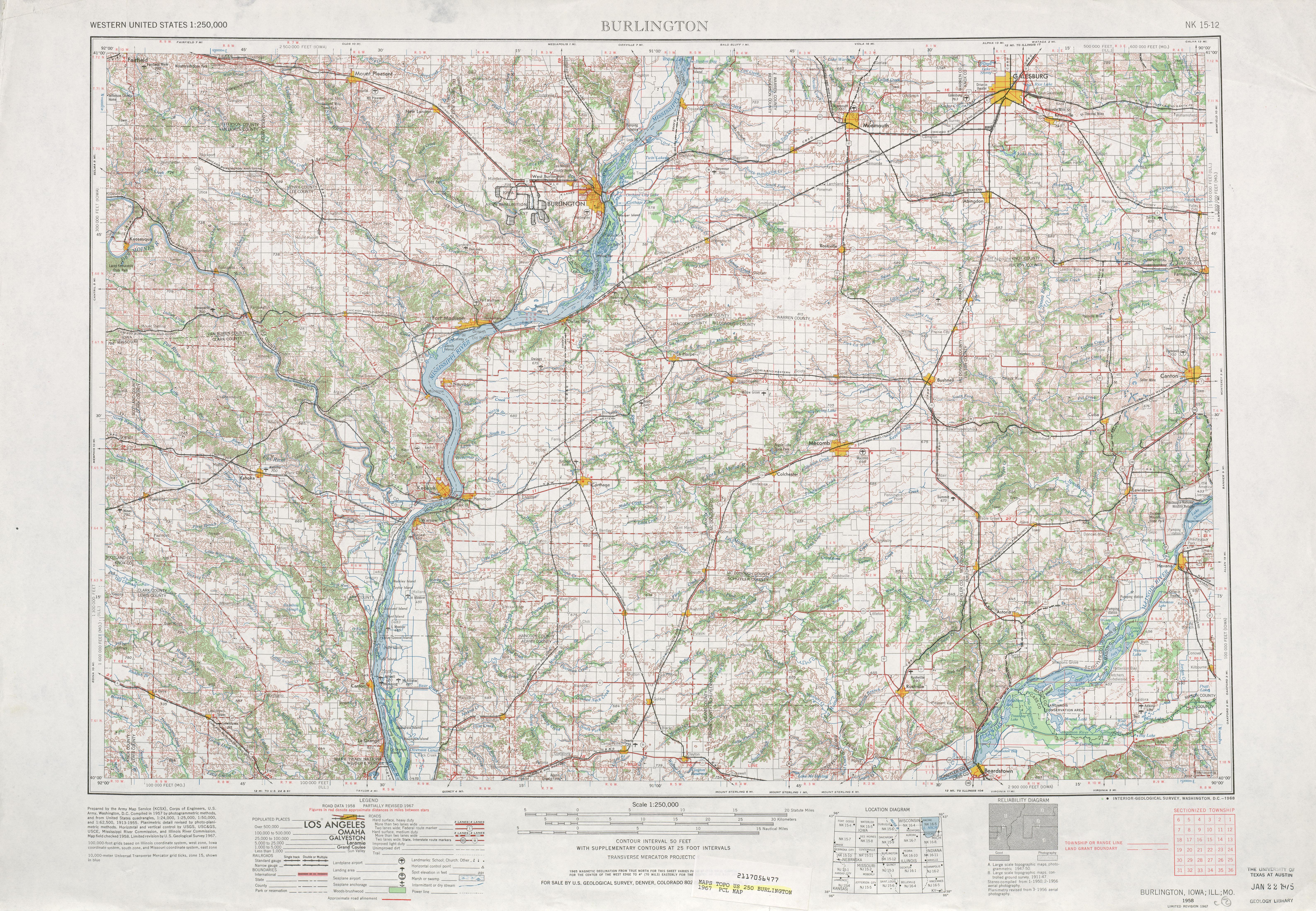 Burlington Topographic Map Sheet, United States 1967
