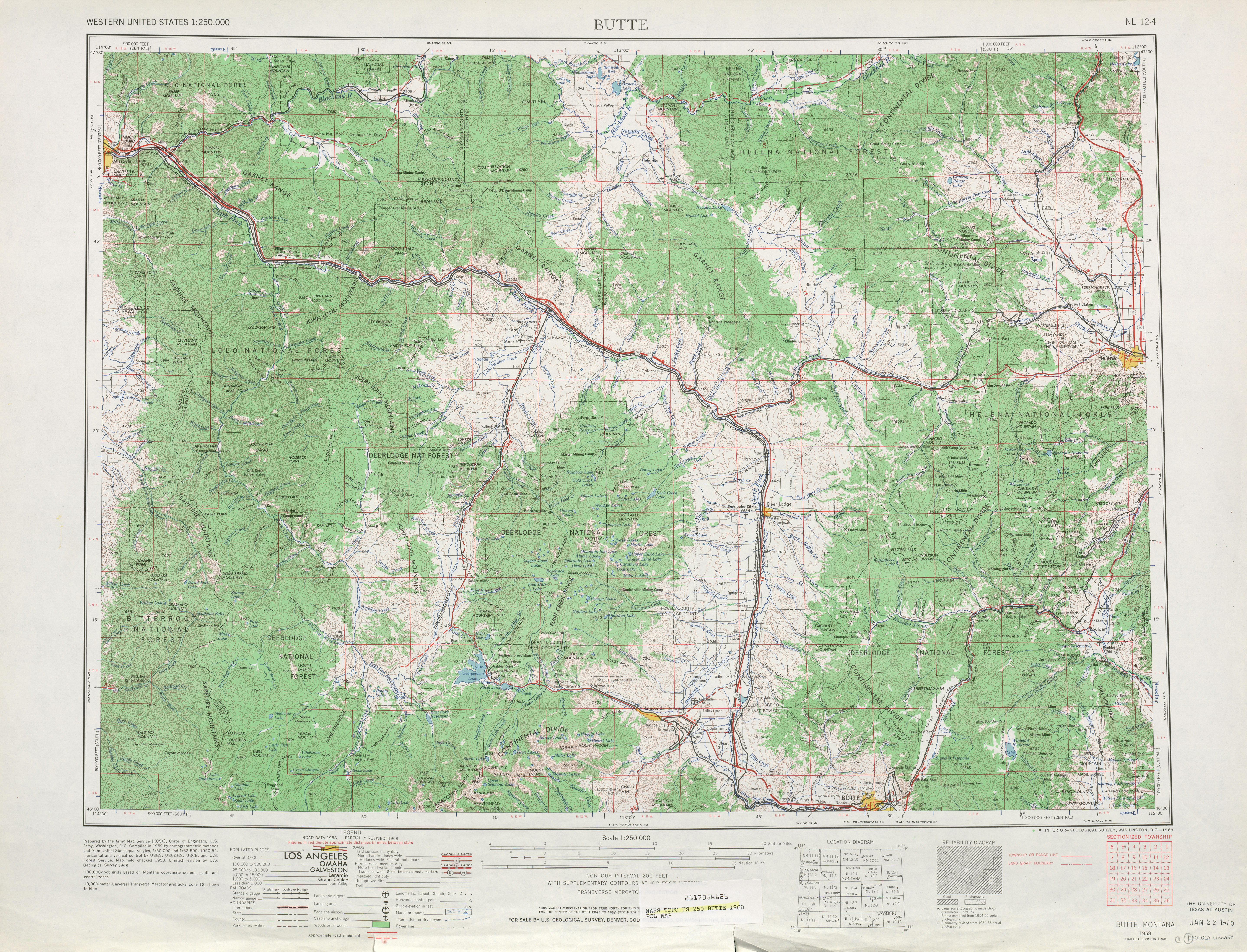 Butte Topographic Map Sheet, United States 1968